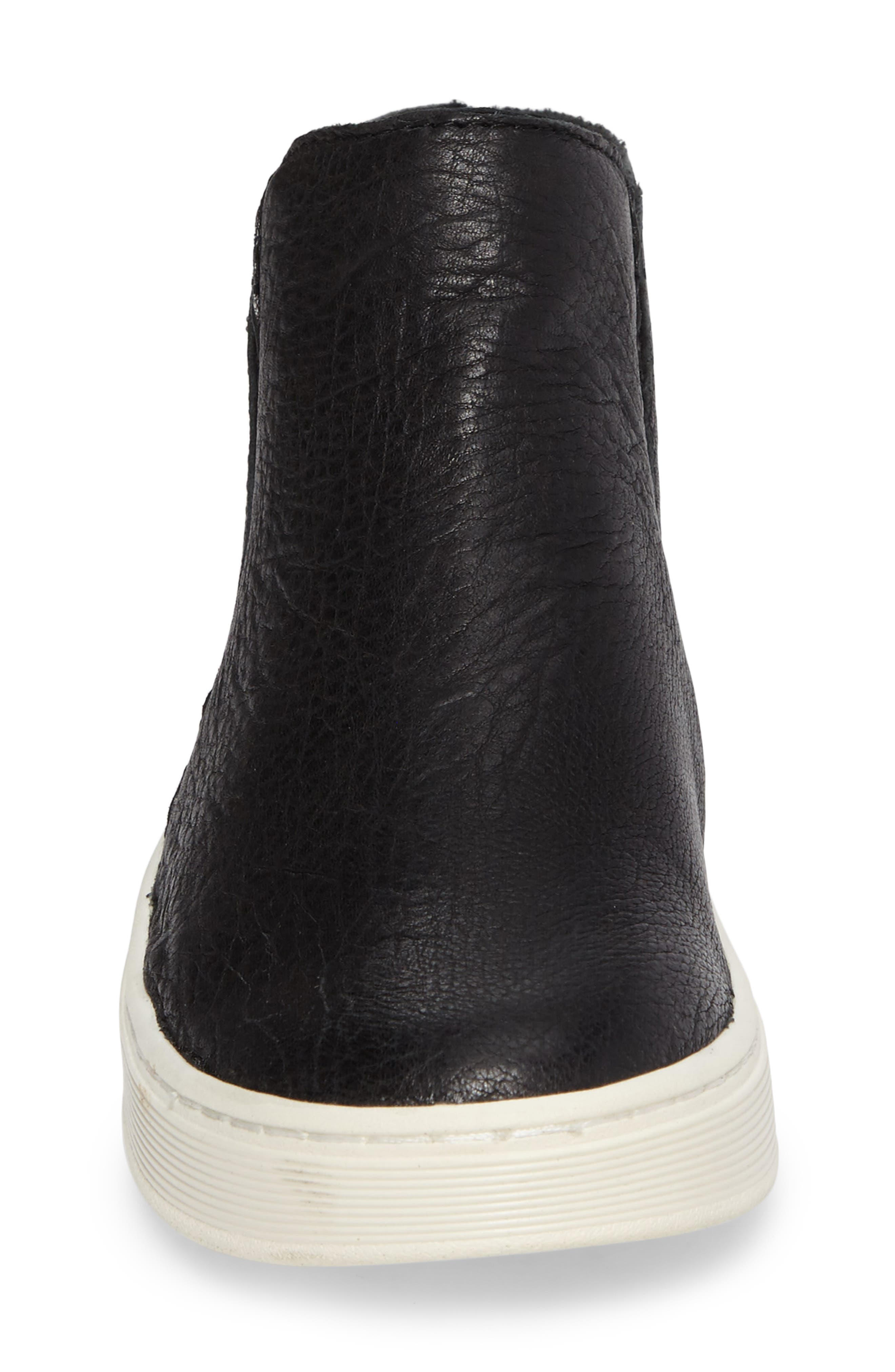 Britton Chelsea Sneaker,                             Alternate thumbnail 4, color,                             BLACK LEATHER