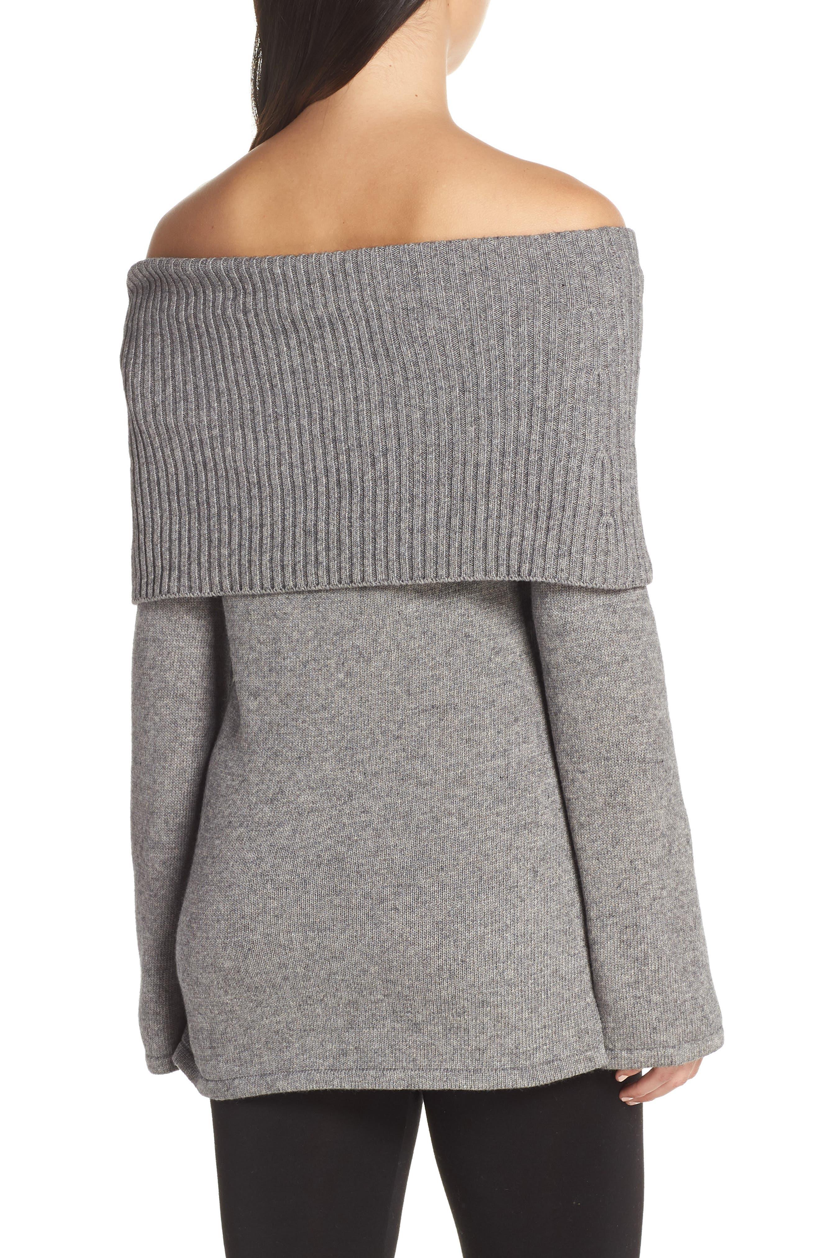 Rhodyn Off The Shoulder Sweater,                             Alternate thumbnail 2, color,                             GREY HEATHER