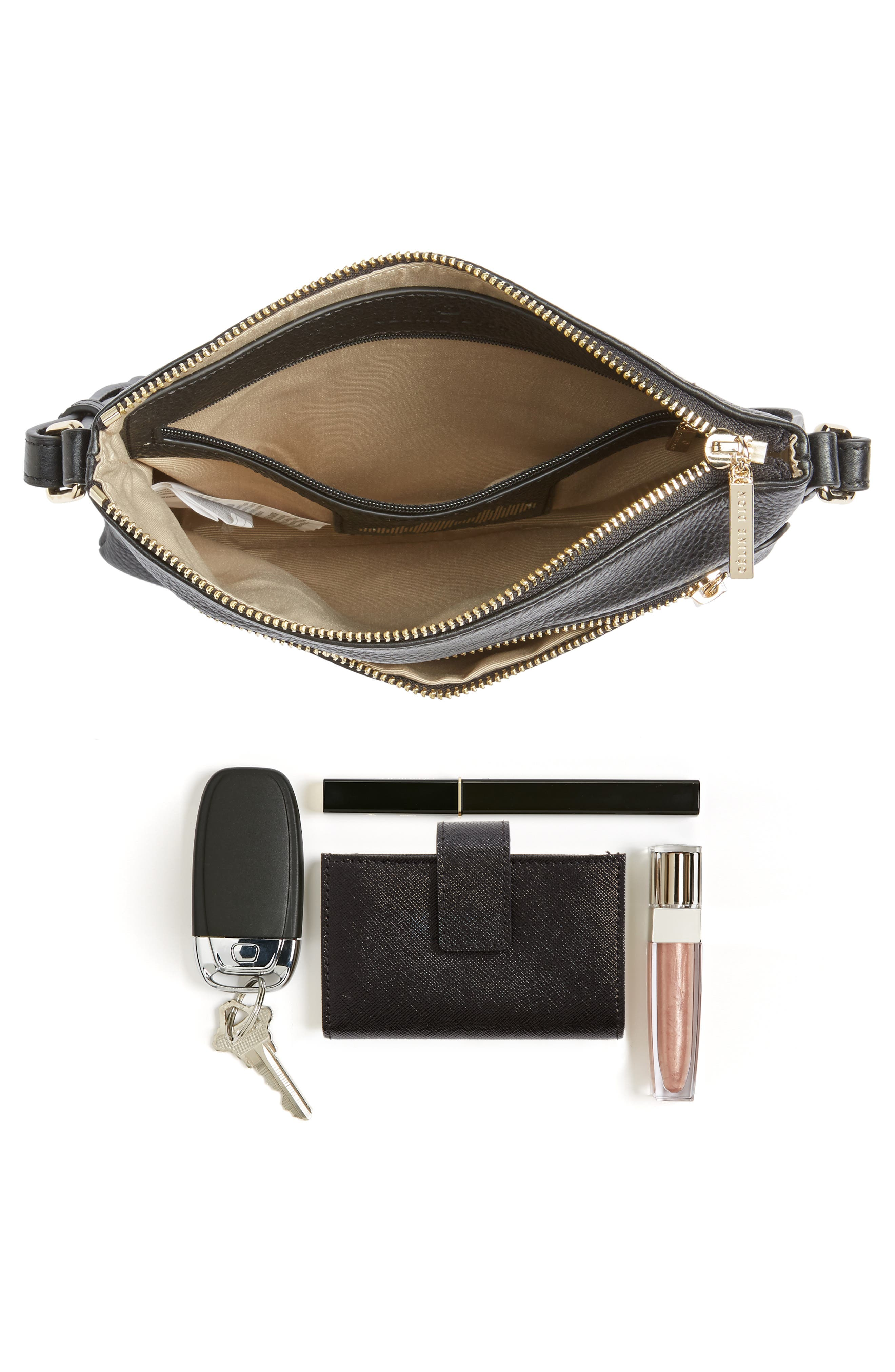 Céline Dion Adagio Leather Crossbody Bag,                             Alternate thumbnail 7, color,                             001
