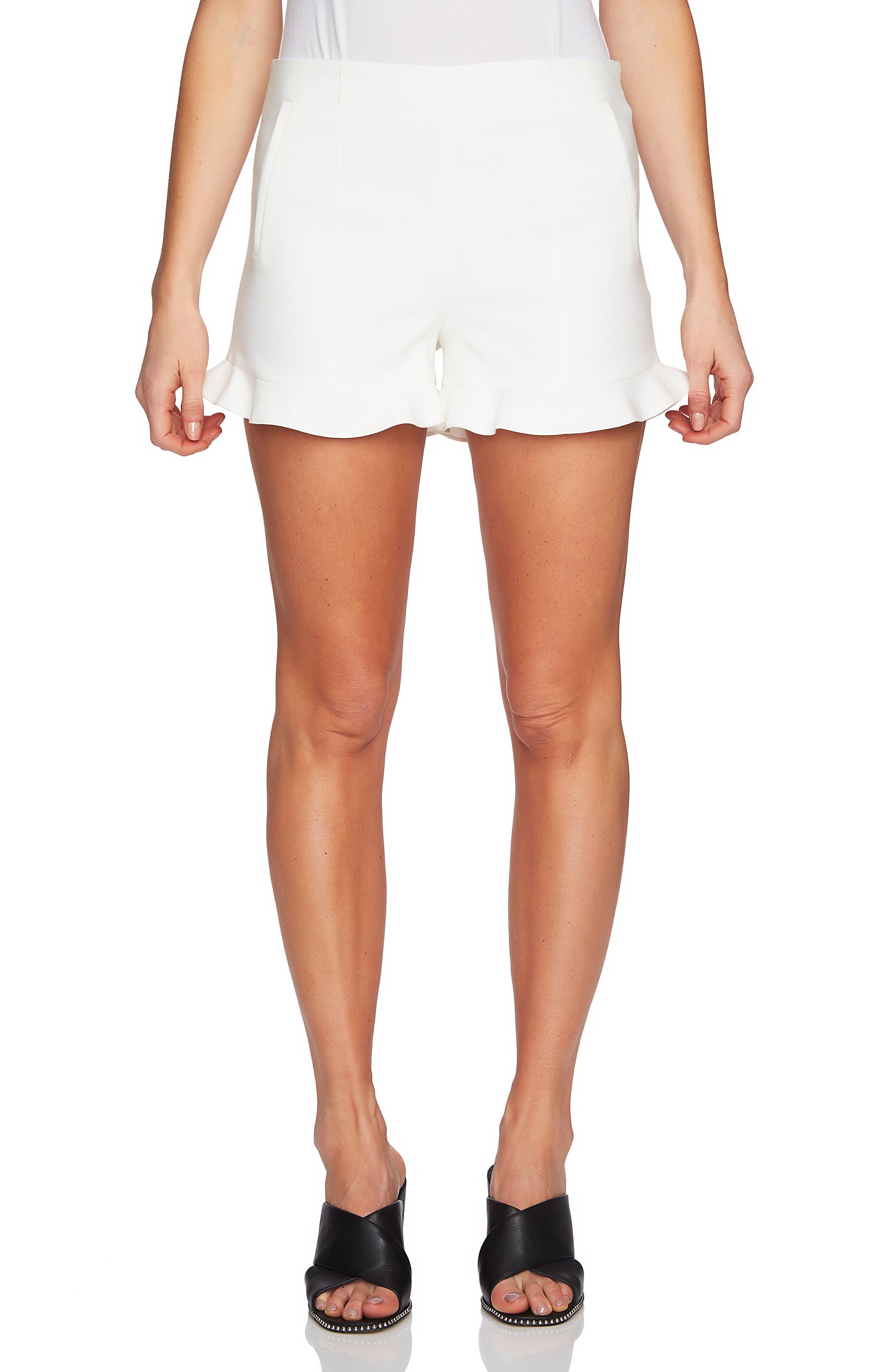 Ruffle Hem Flat Front Shorts, Main, color, NEW IVORY