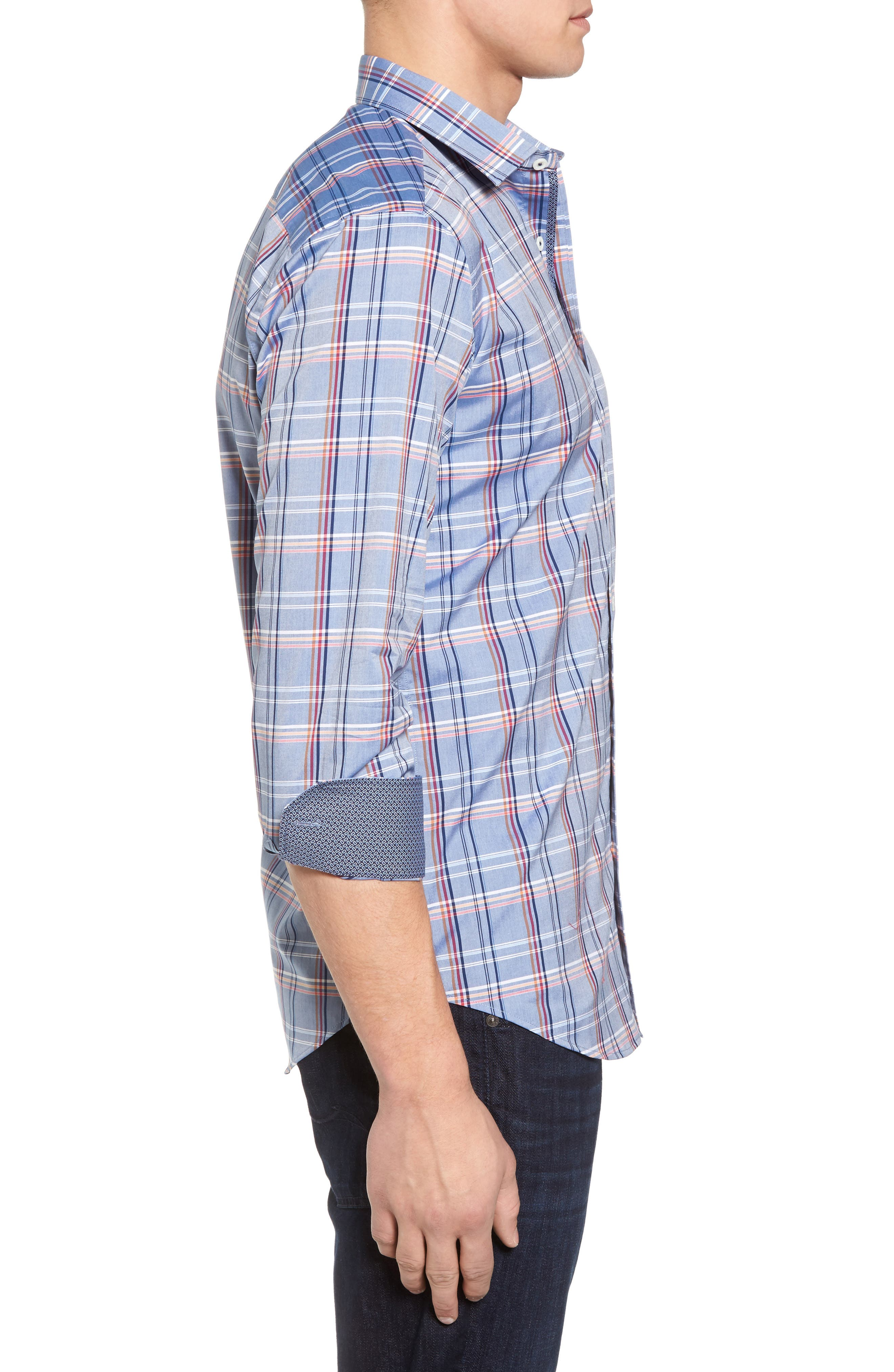 Shaped Fit Plaid Sport Shirt,                             Alternate thumbnail 3, color,