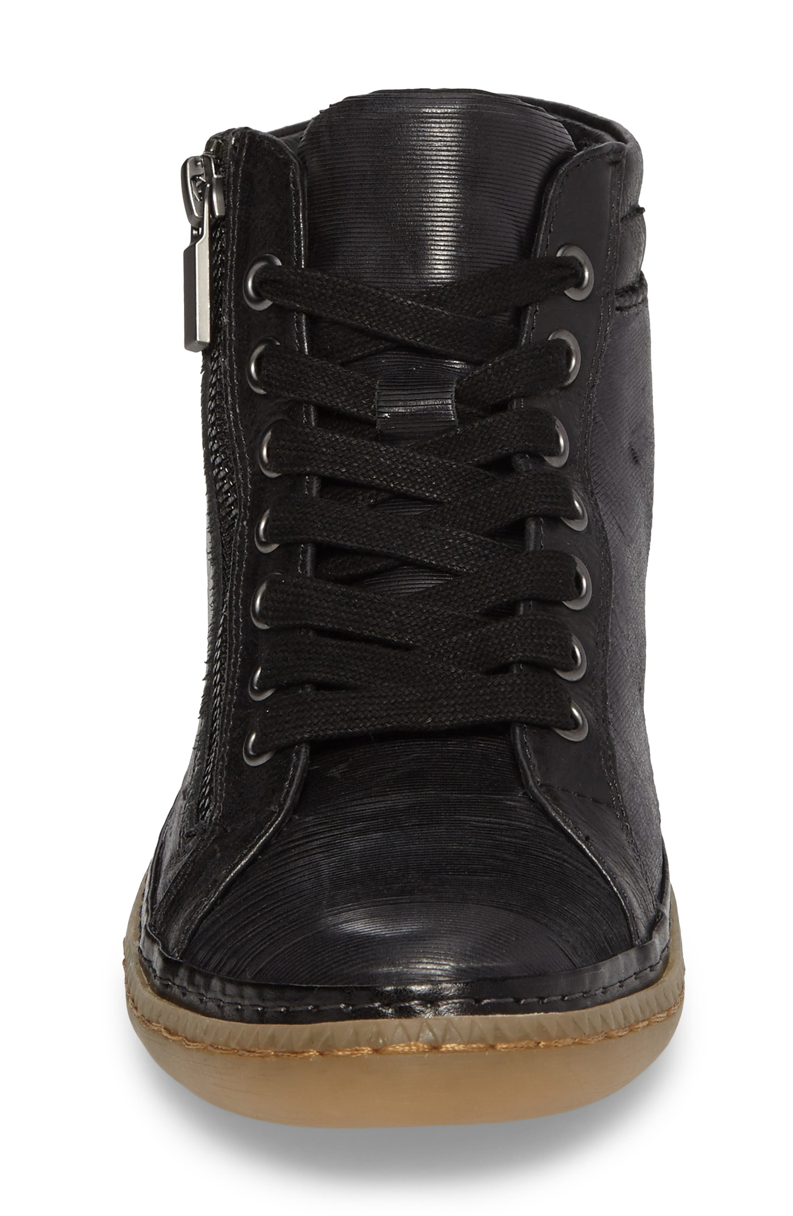 Annaleigh High Top Sneaker,                             Alternate thumbnail 4, color,                             BLACK LEATHER