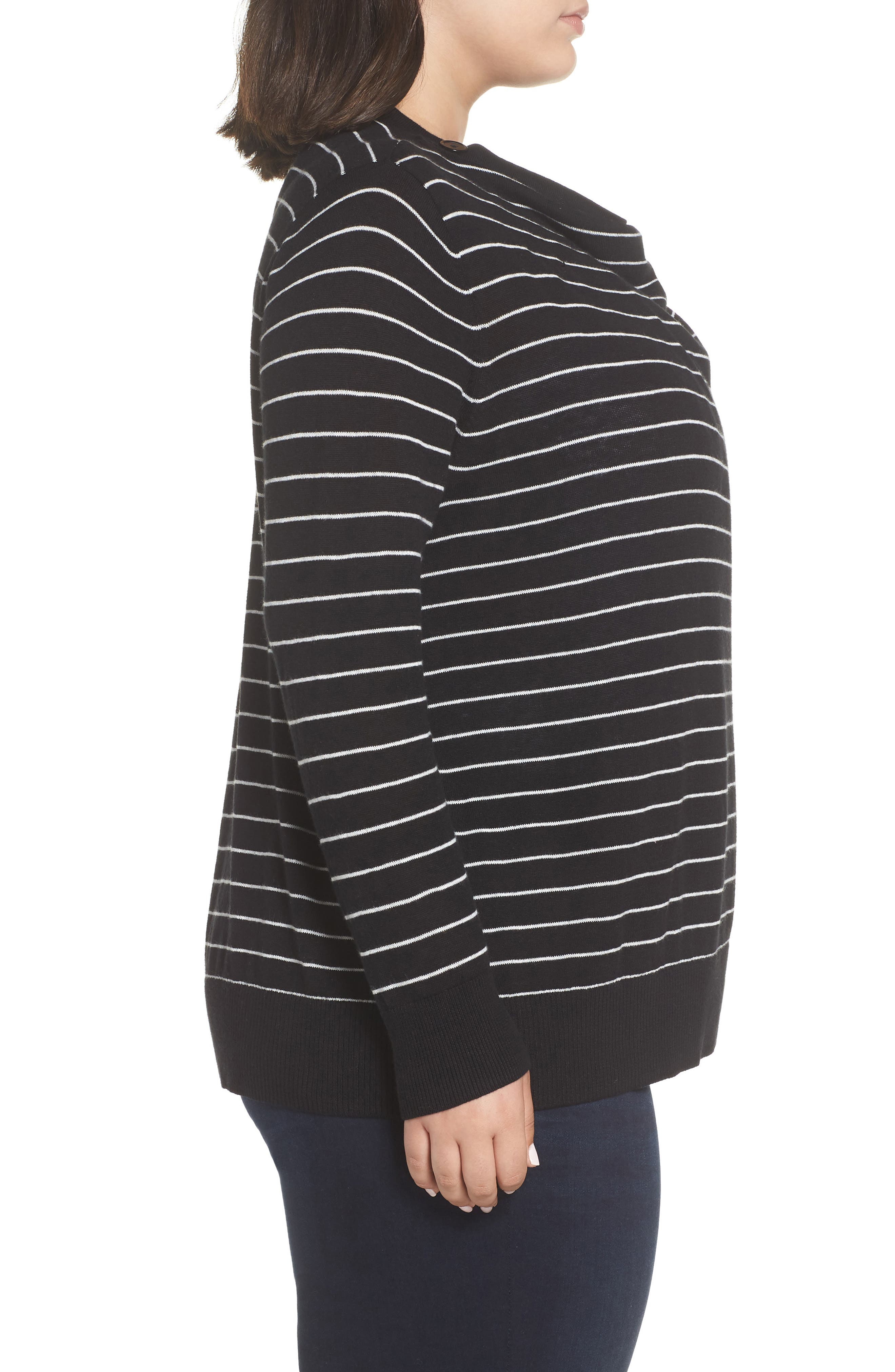 Button-Up Waterfall Cardigan,                             Alternate thumbnail 3, color,                             BLACK- IVORY DELIA STRIPE