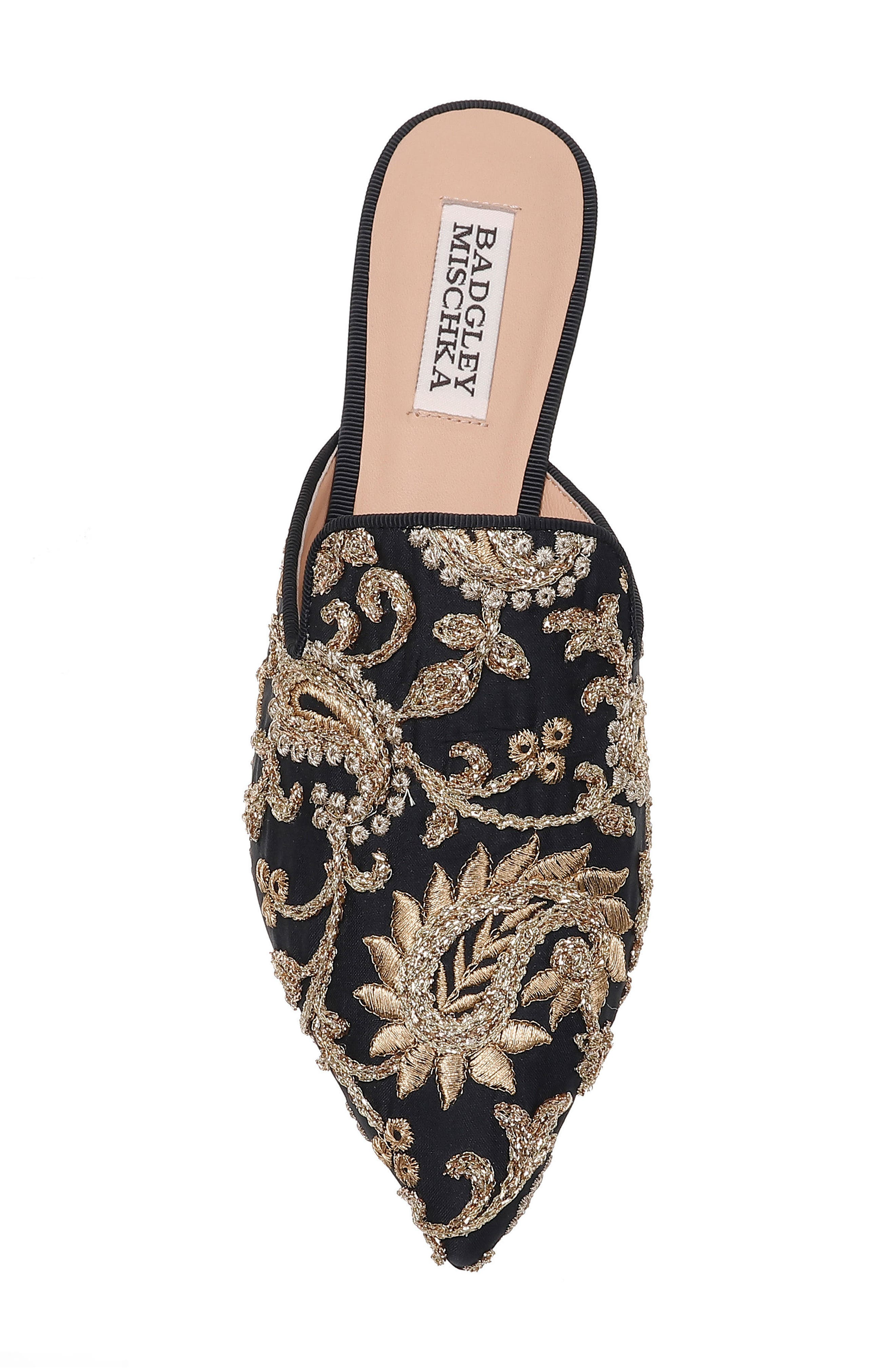 Phoebe Embroidered Mule,                             Alternate thumbnail 5, color,                             BLACK FABRIC