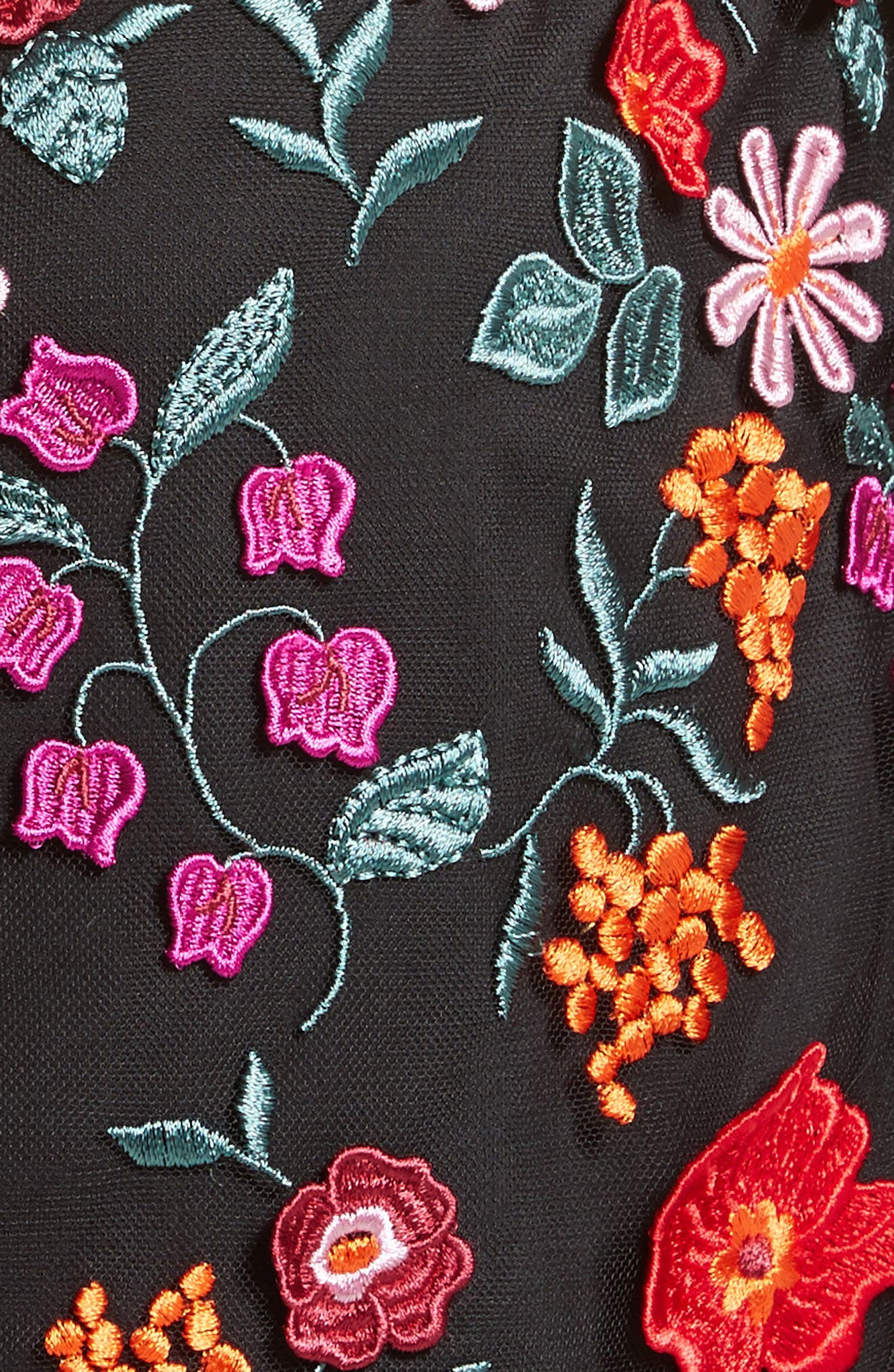 Floral Embroidered Pencil Dress,                             Alternate thumbnail 6, color,                             001