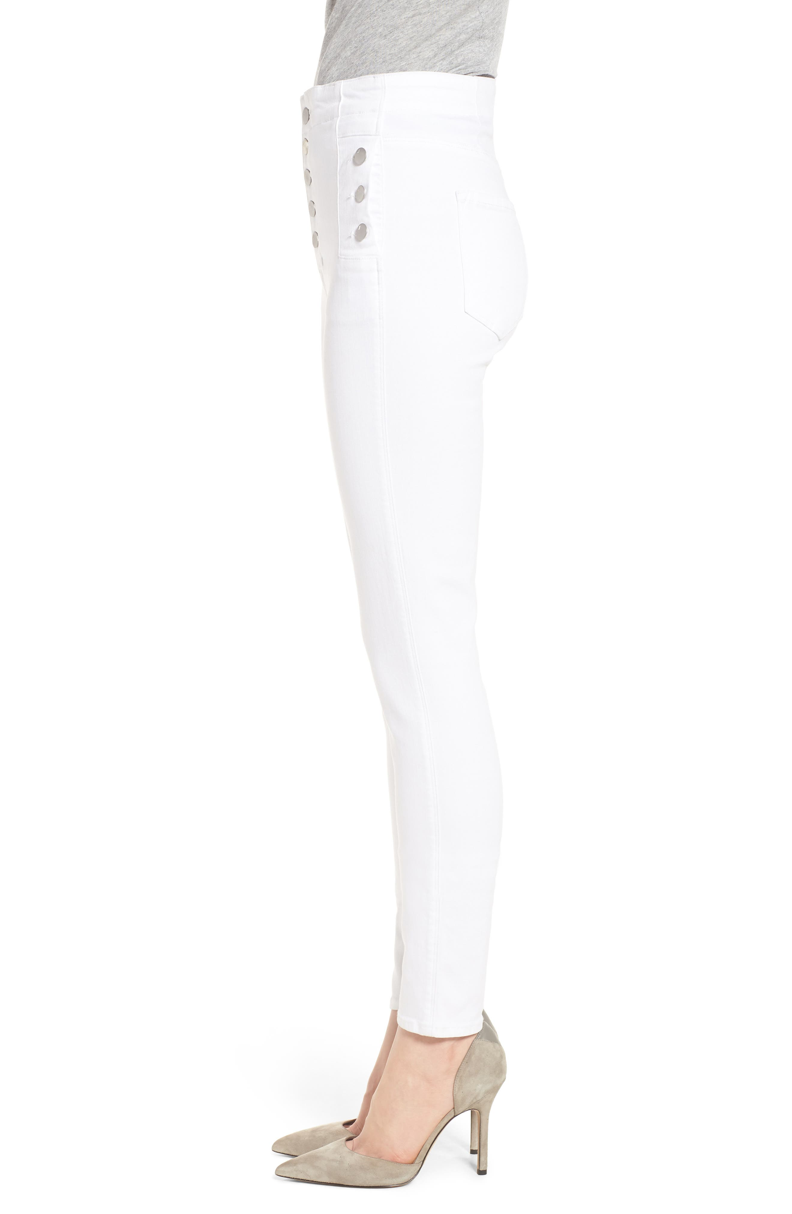 Natasha Sky High Super Skinny Jeans,                             Alternate thumbnail 3, color,                             WHITE