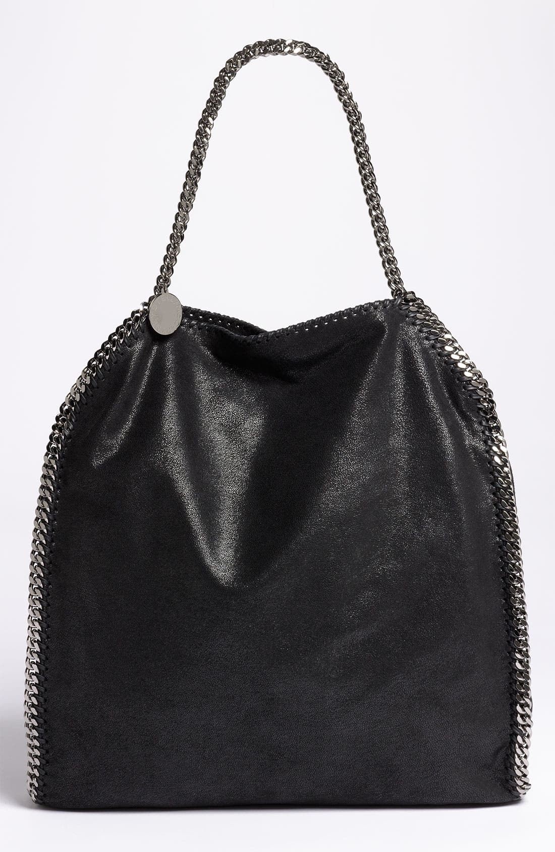 STELLA MCCARTNEY,                             'Large Falabella - Shaggy Deer' Faux Leather Tote,                             Main thumbnail 1, color,                             001
