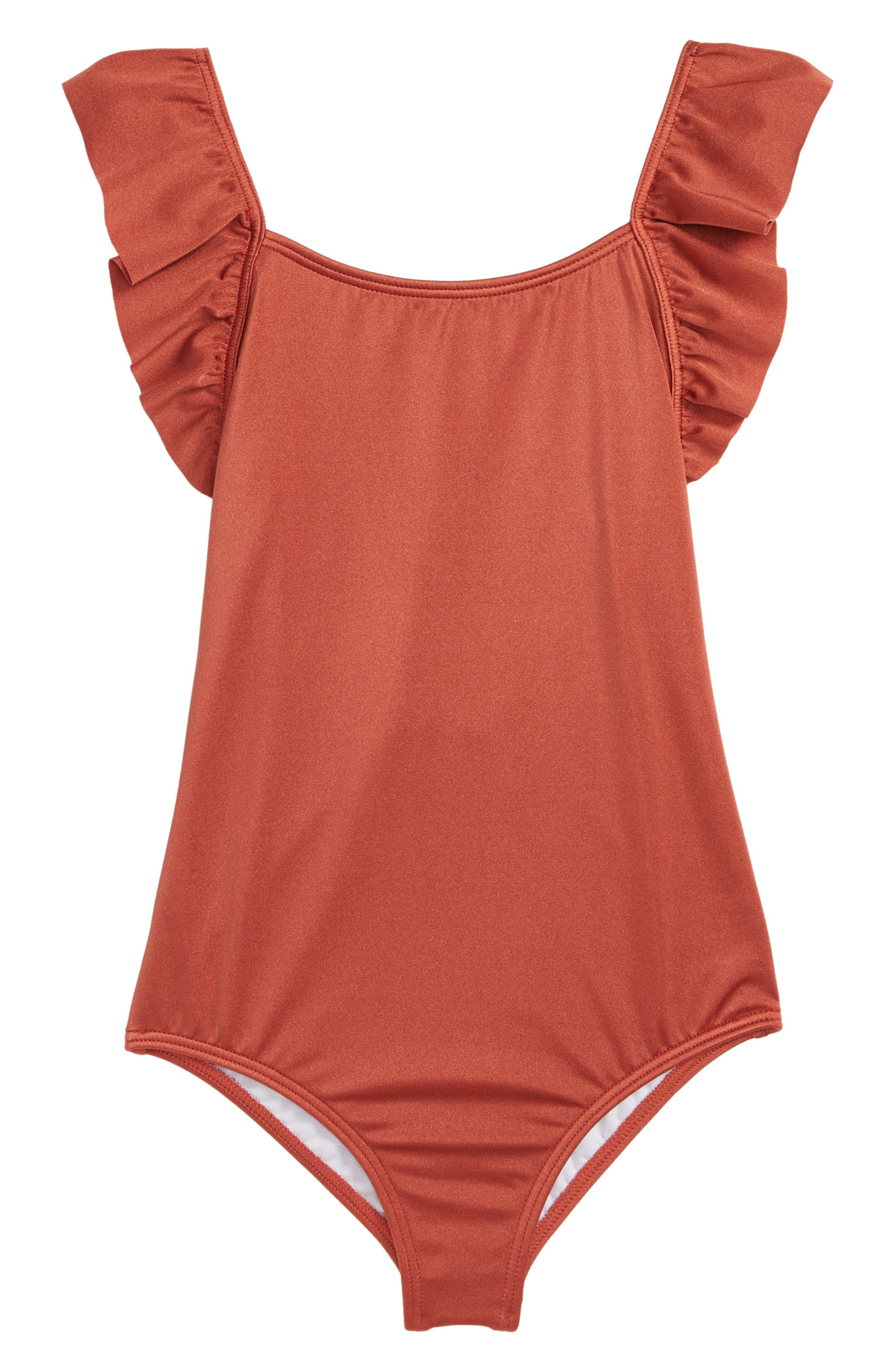Shine One-Piece Swimsuit,                             Main thumbnail 1, color,                             SIENNA