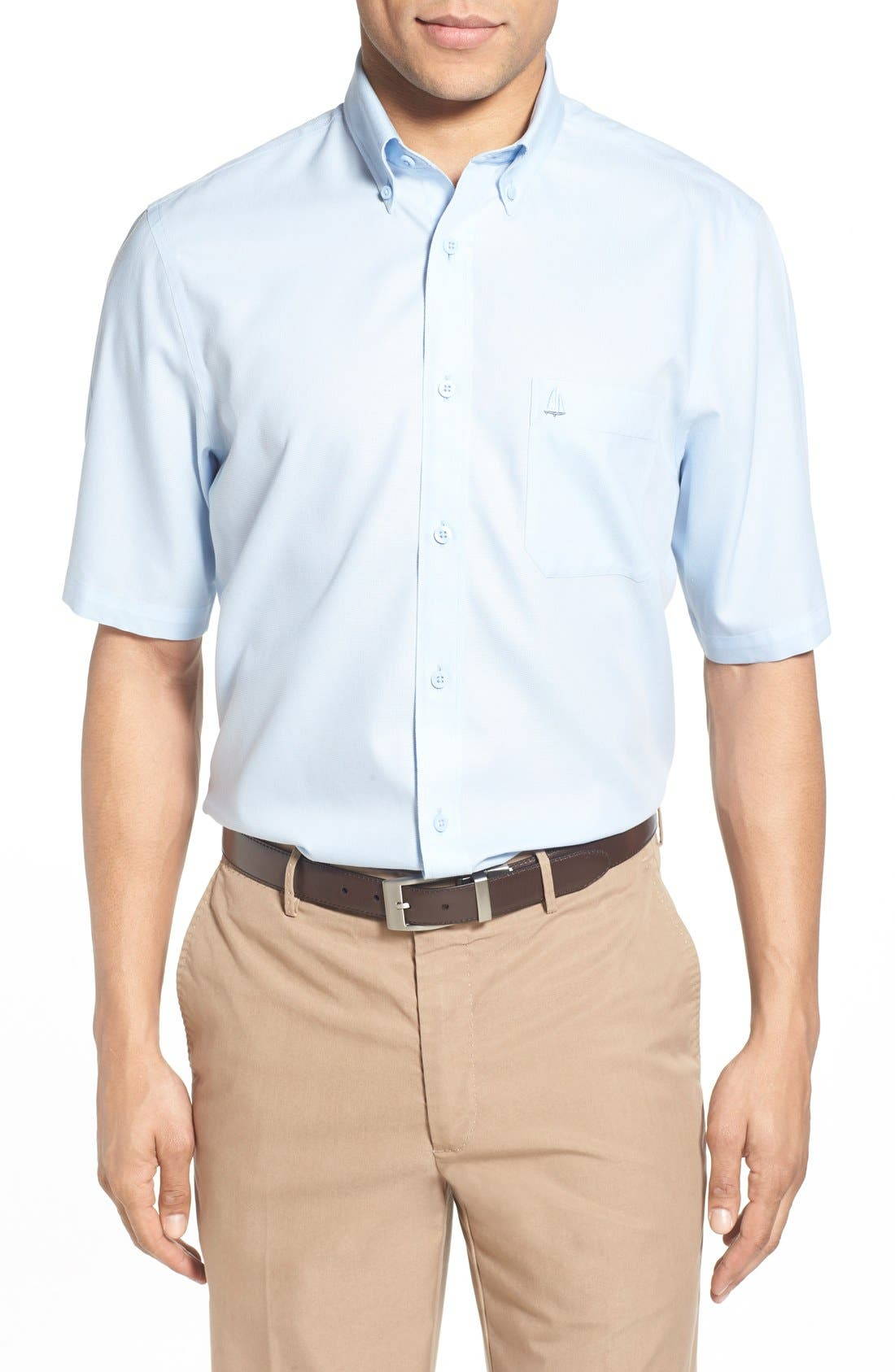 'Classic' Smartcare<sup>™</sup> Regular Fit Short Sleeve Cotton Sport Shirt,                             Main thumbnail 18, color,