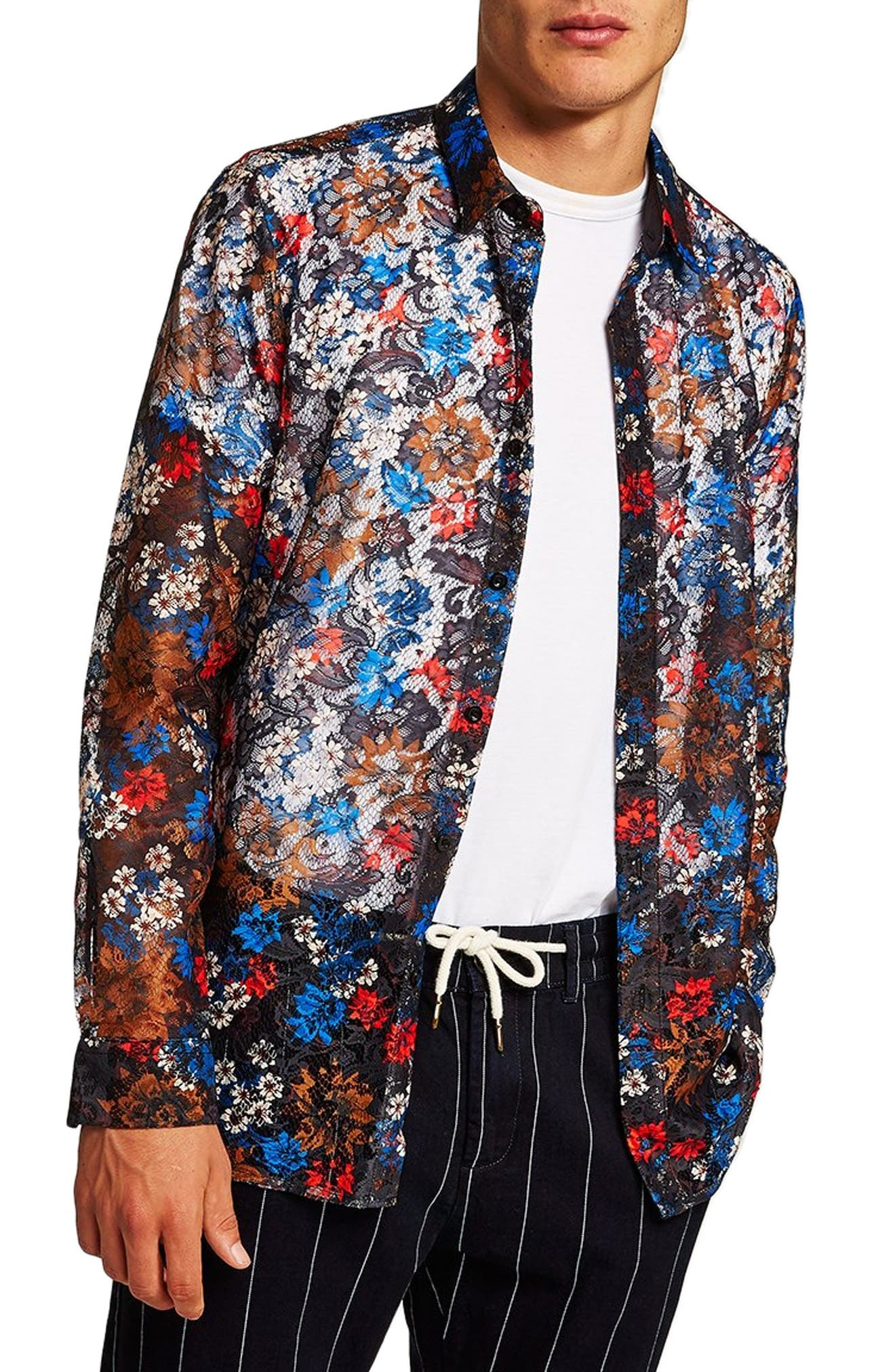 Floral Lace Shirt,                         Main,                         color, BLUE MULTI