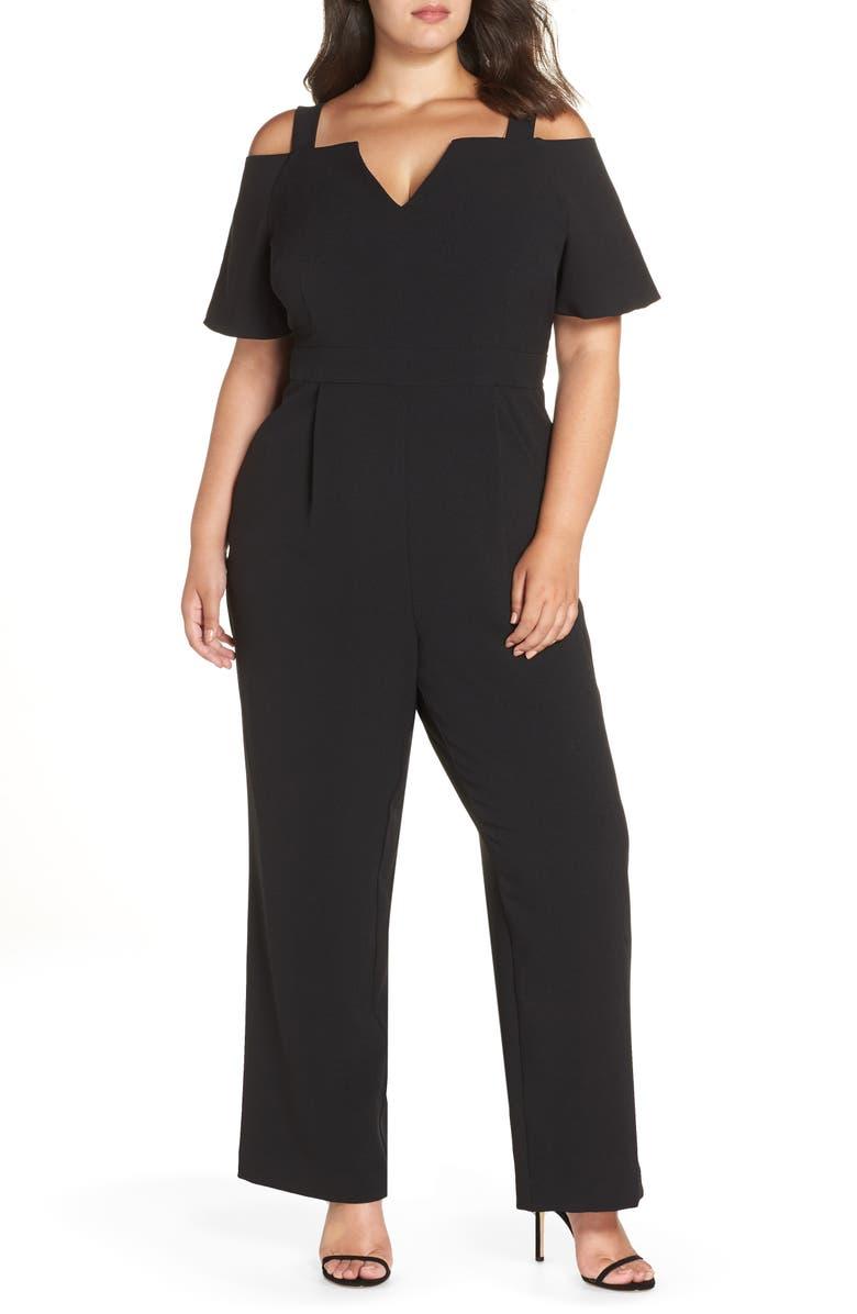 e9729c5a470cc Eliza J Cold Shoulder V-Neck Jumpsuit (Plus Size)