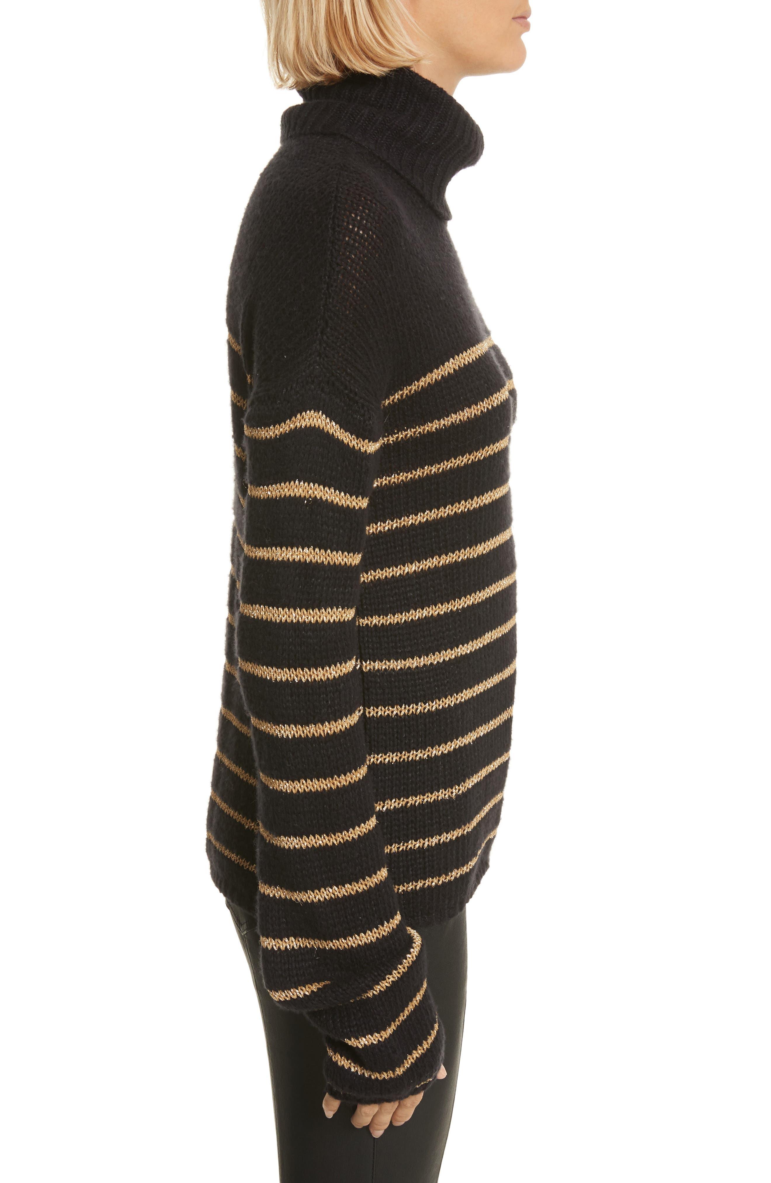 Elisa Metallic Stripe Turtleneck Sweater,                             Alternate thumbnail 3, color,                             010