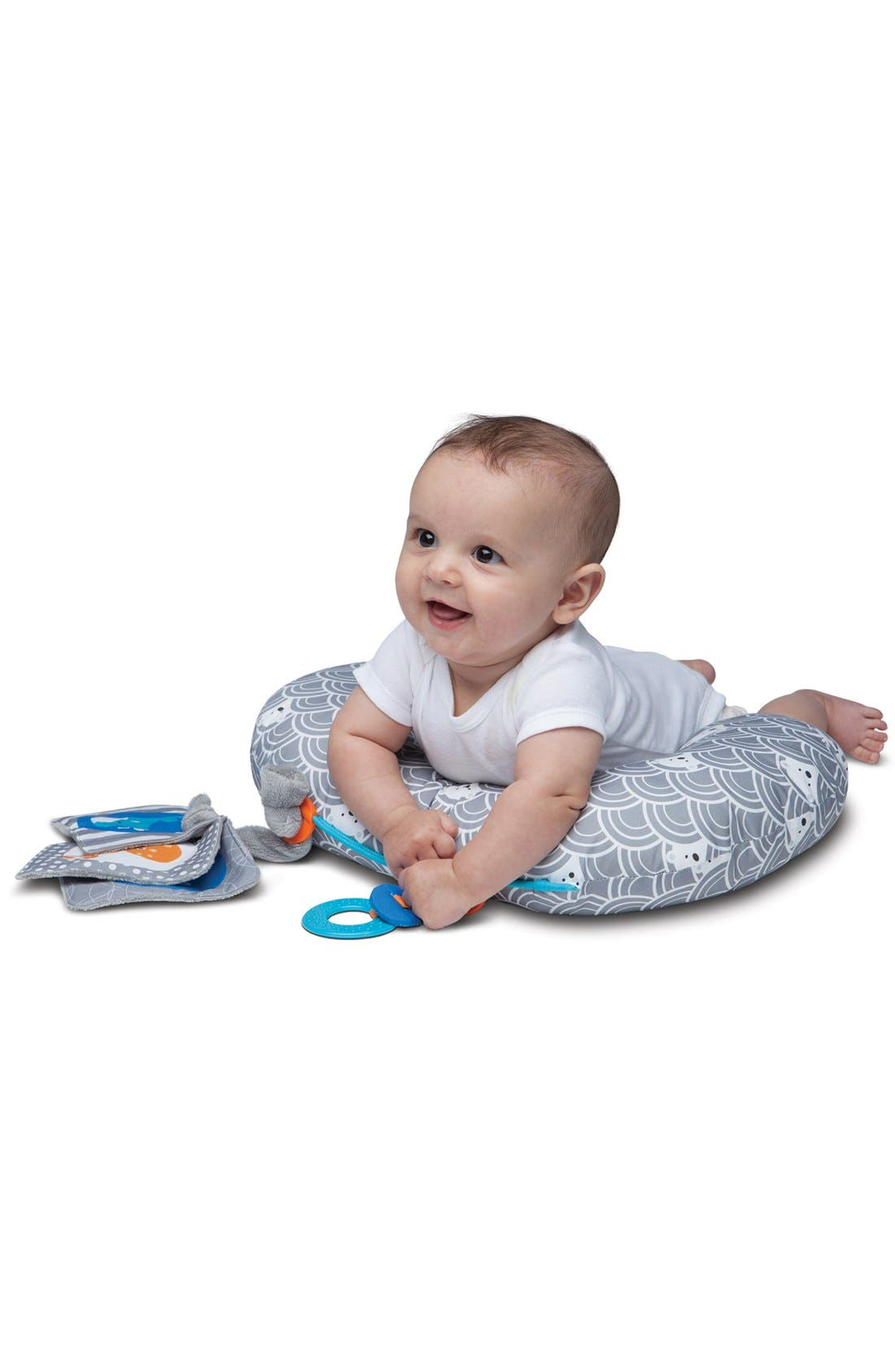 Tummy Time - SlideLine Collection Mini Pillow, Book & Teething Ring,                             Alternate thumbnail 4, color,                             GREY