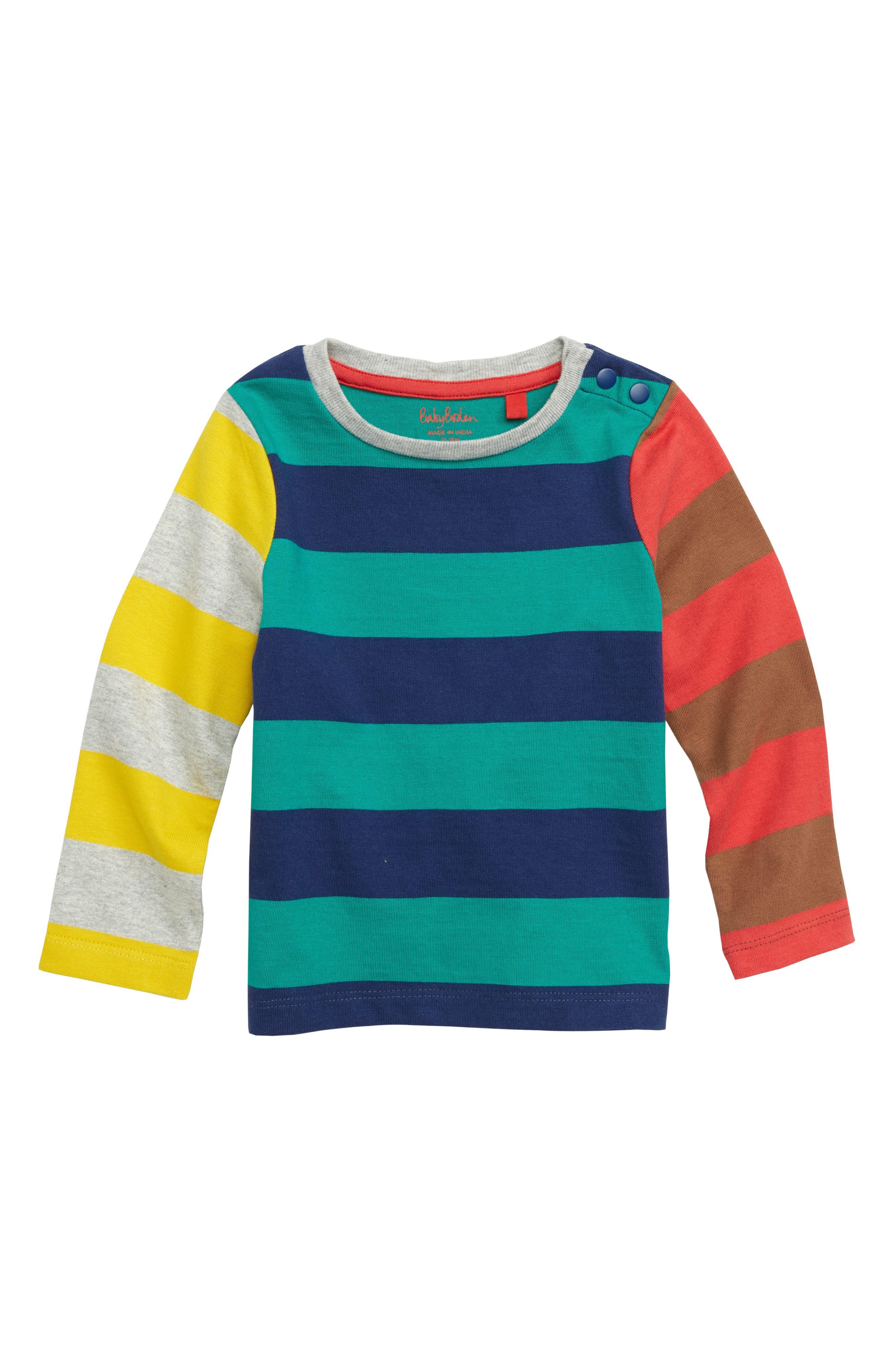 Stripy Hotchpotch T-Shirt,                         Main,                         color, GREEN/ BEACON BLUE