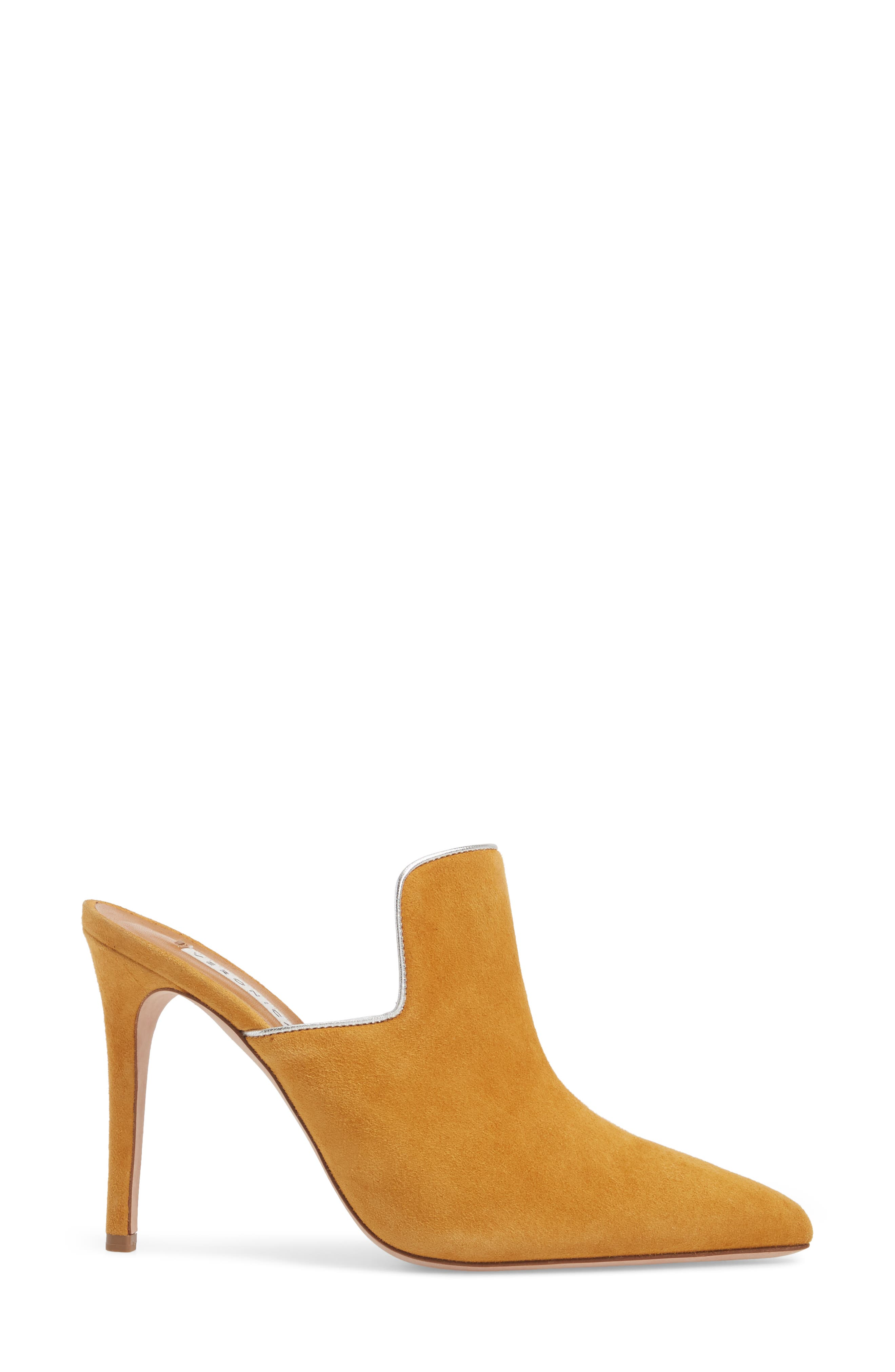 Penn Pointy Toe Mule,                             Alternate thumbnail 3, color,                             MARIGOLD/ SILVER