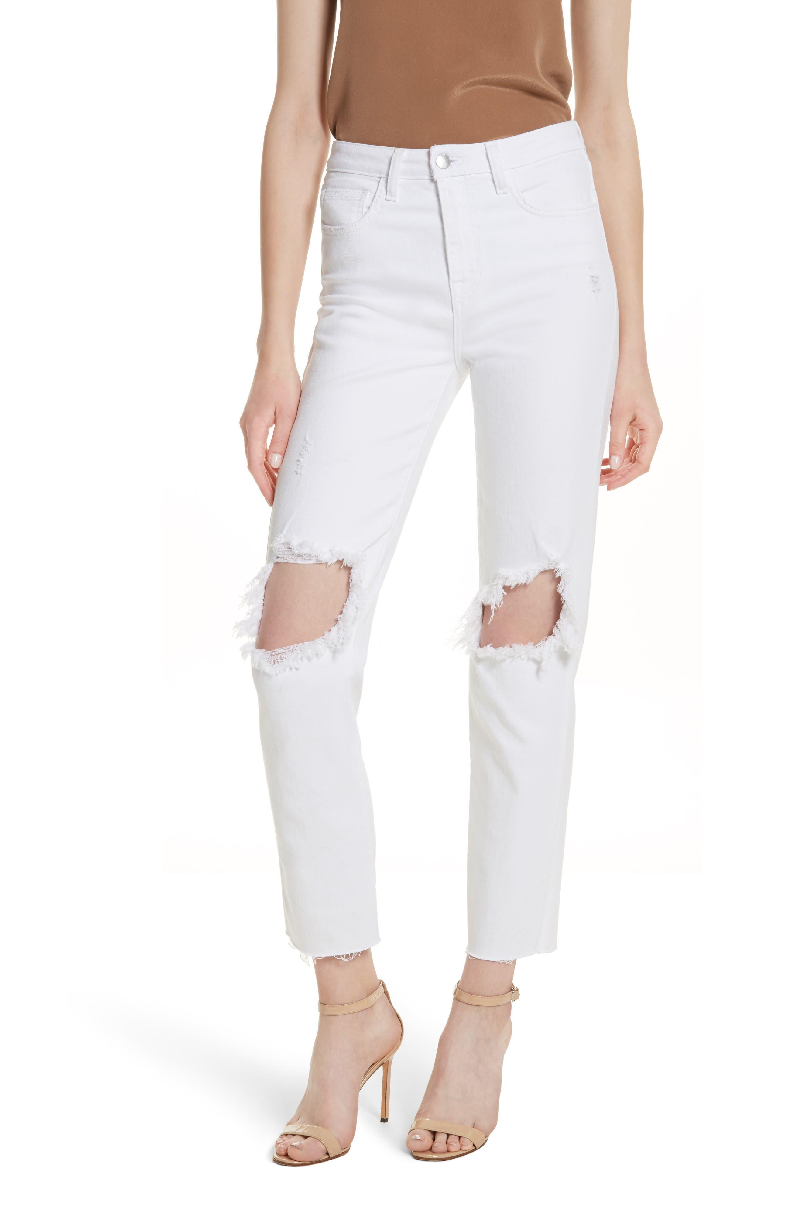 Audrina Ripped Straight Leg Crop Jeans,                         Main,                         color, BLANC WORN DESTRUCT