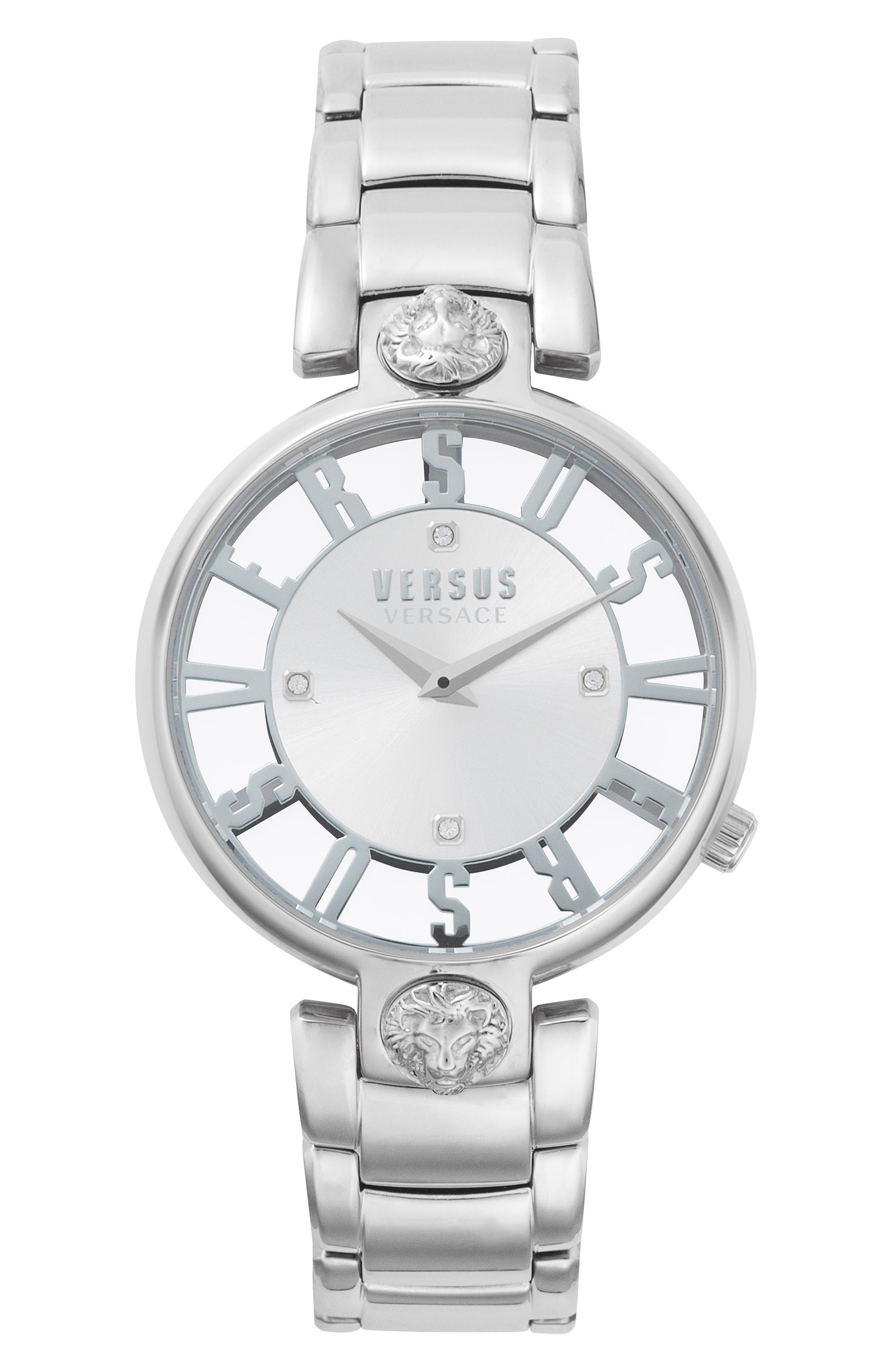 VERSUS by Versace Kristenhof Bracelet Watch, 34mm,                             Main thumbnail 1, color,                             SILVER