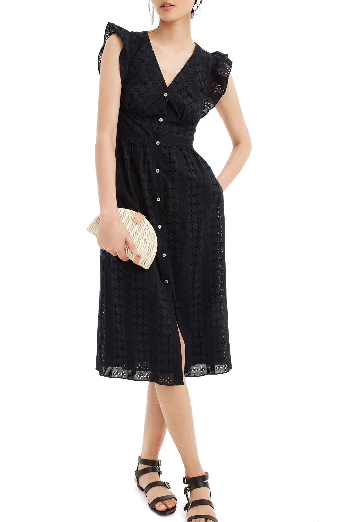 Ruffle Sleeve Eyelet Dress,                         Main,                         color, 001