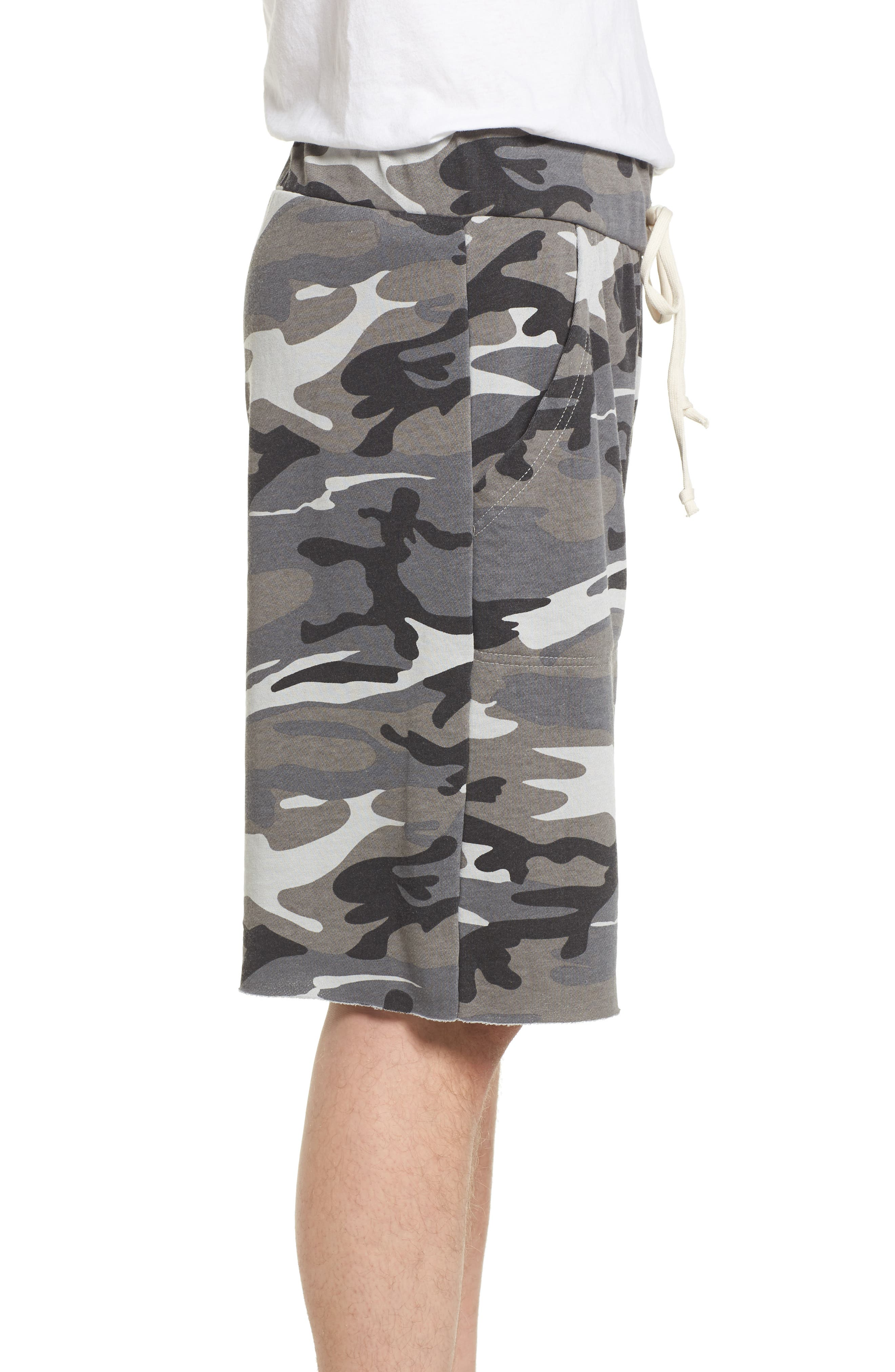 'Victory' Camo French Terry Knit Cutoff Shorts,                             Alternate thumbnail 3, color,                             020