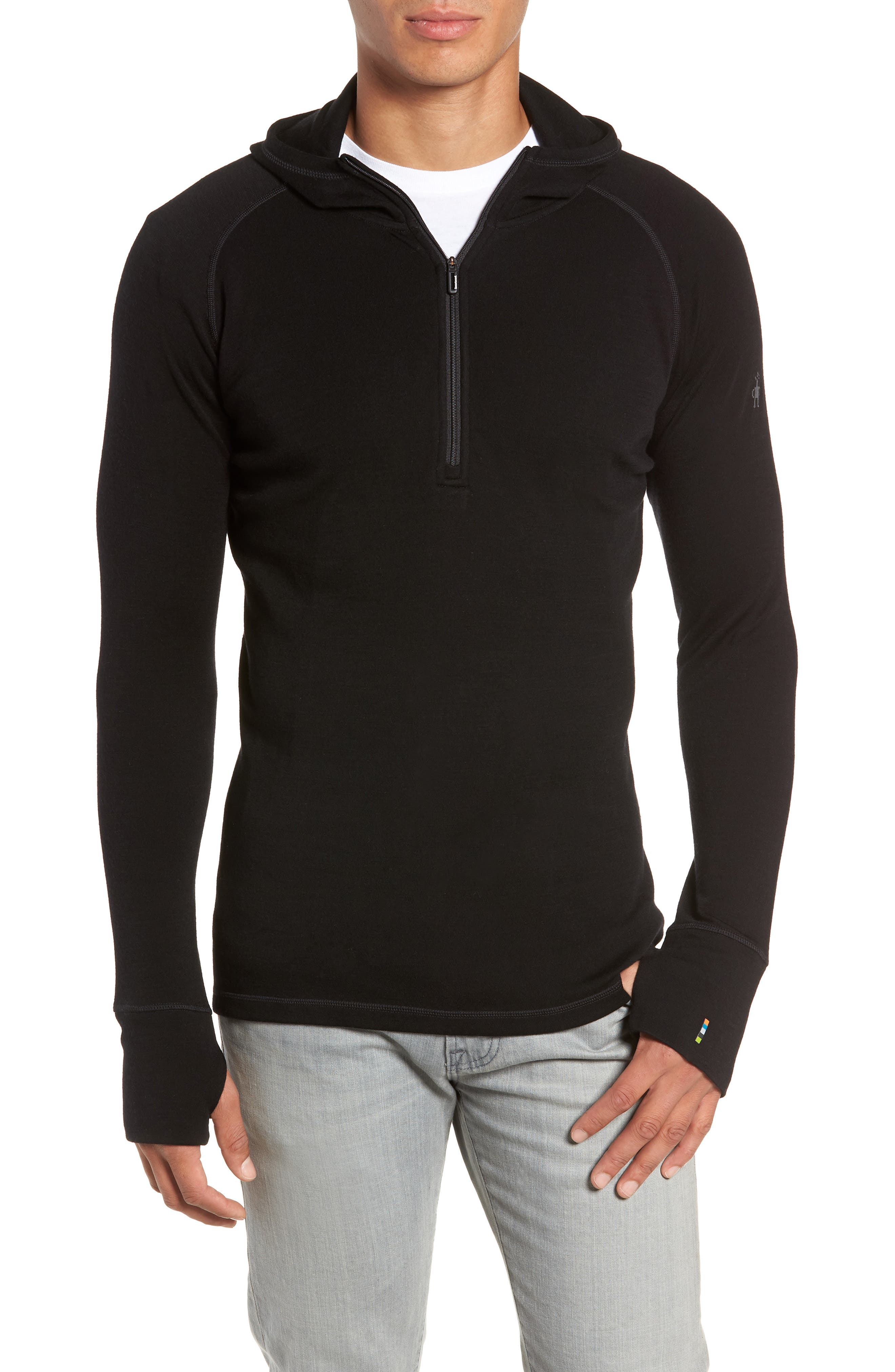 Merino 250 Base Layer Hooded Pullover,                             Main thumbnail 1, color,                             BLACK