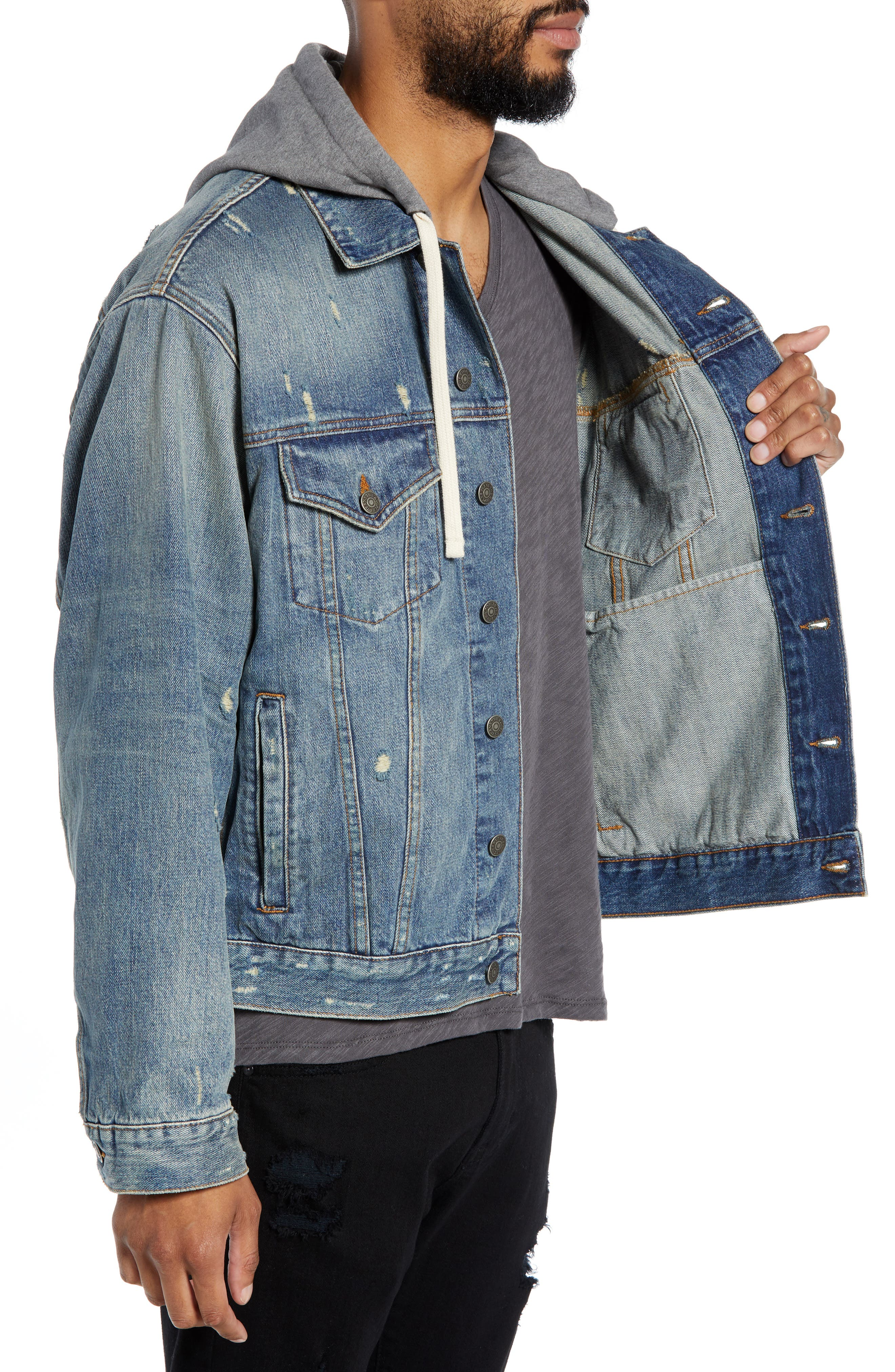 Oversized Distressed Denim Jacket with Hood,                             Alternate thumbnail 3, color,                             420