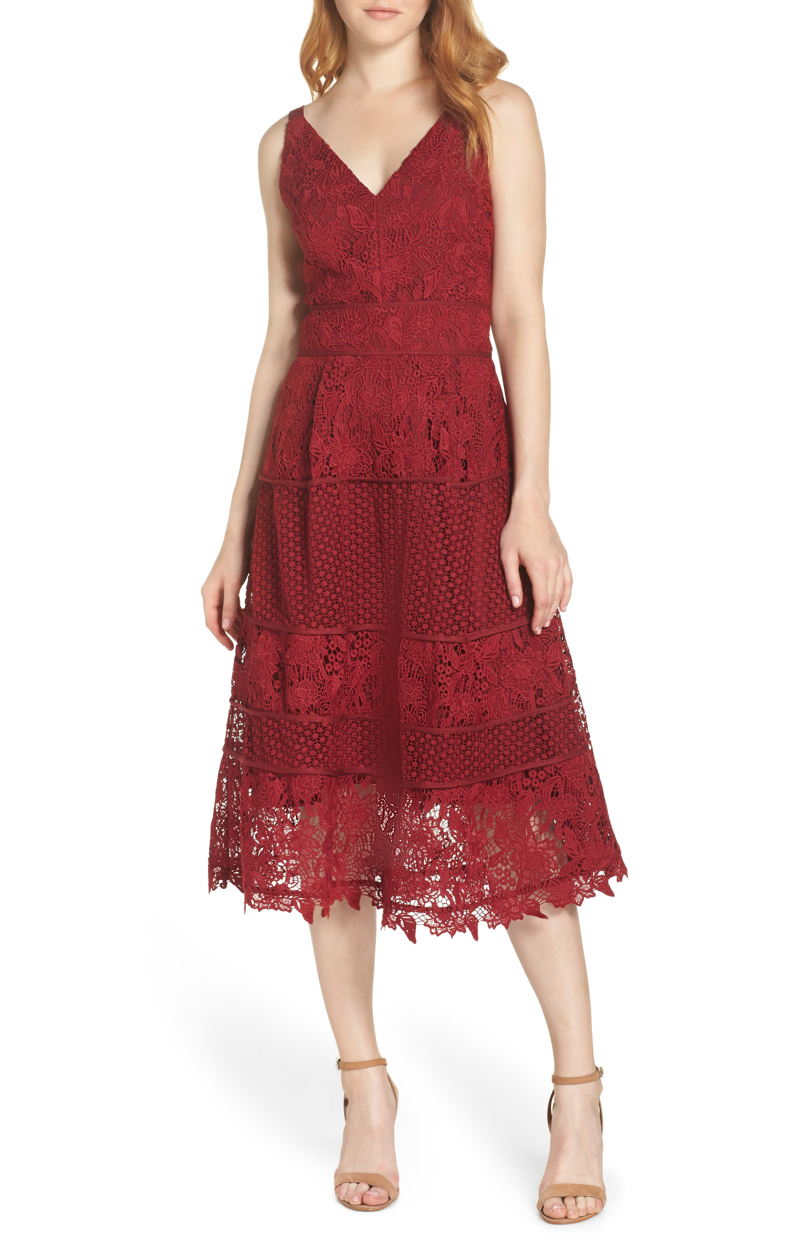 ADELYN RAE Beatrice Multi Style Lace Fit & Flare Dress in Berry
