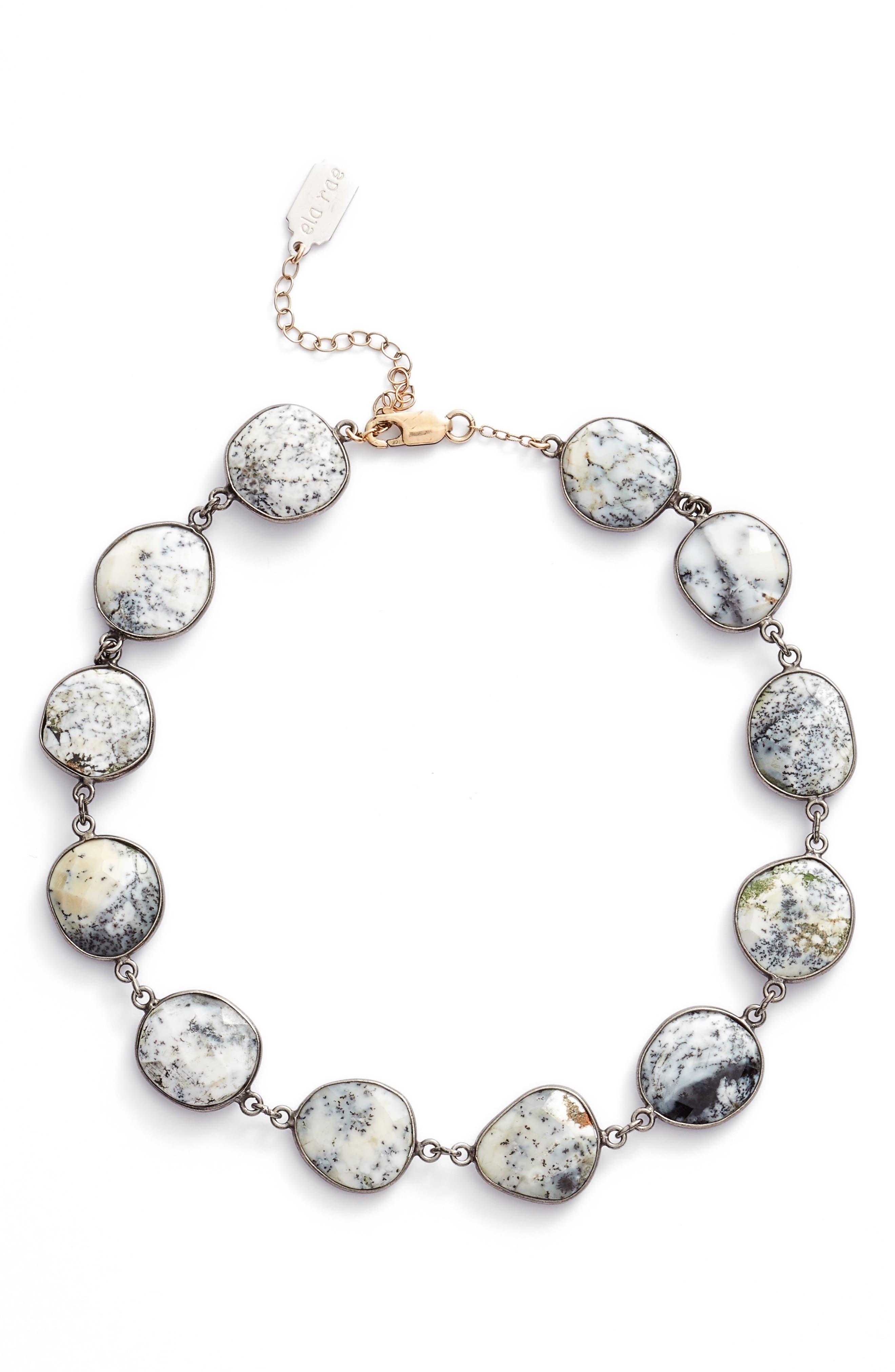 Suze Semiprecious Stone Collar Necklace,                             Main thumbnail 1, color,                             DENDRITE OPAL
