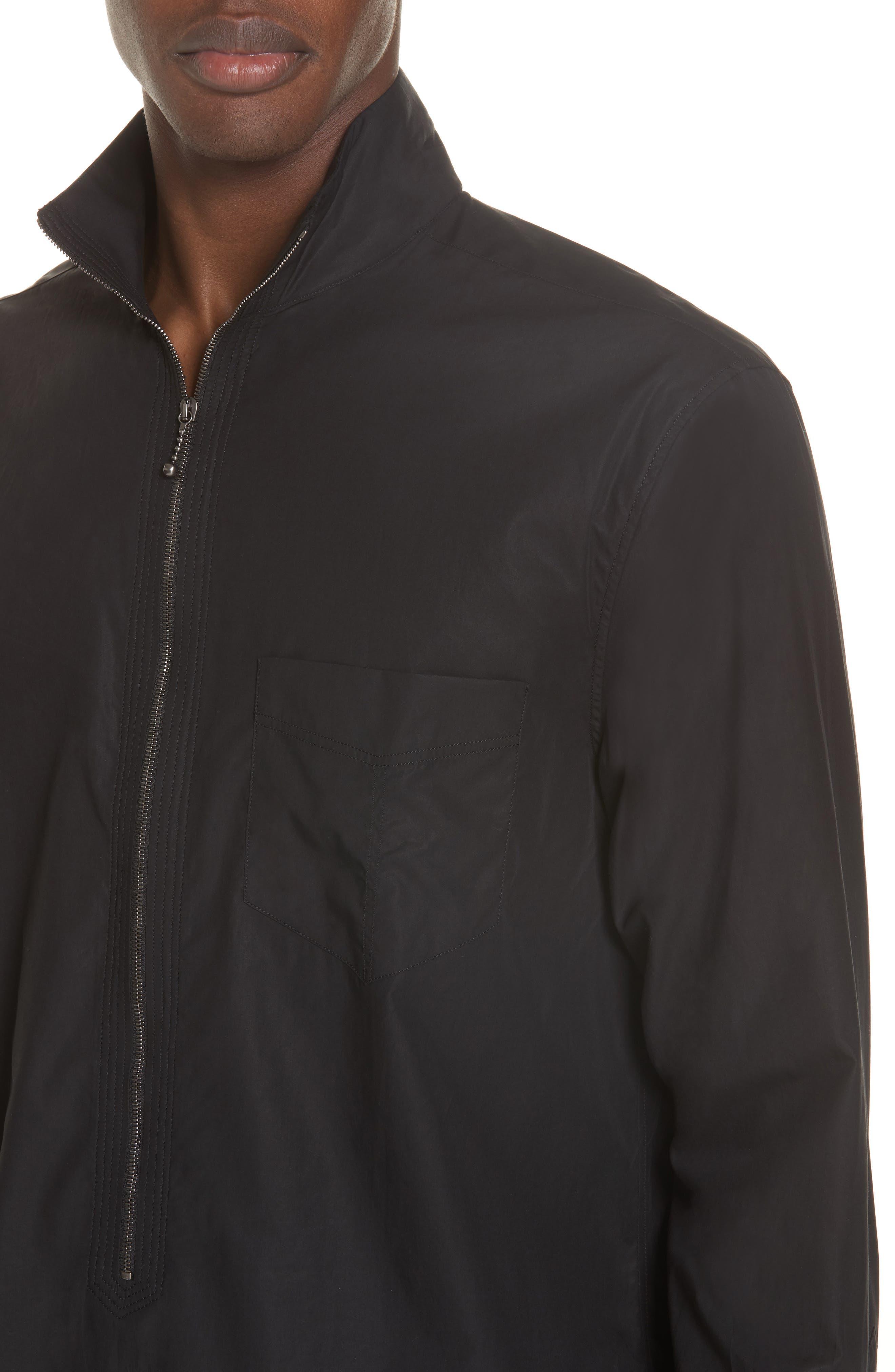 Zip Front Cotton Shirt,                             Alternate thumbnail 2, color,                             BLACK