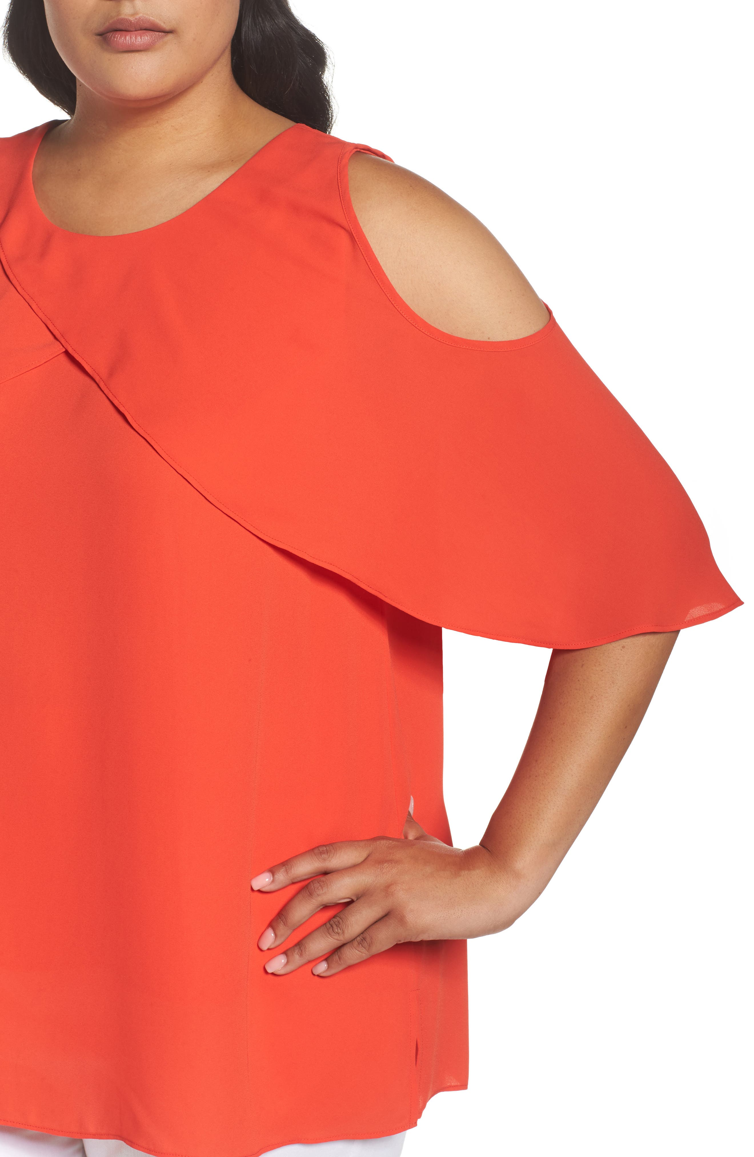 Cold Shoulder Ruffled Blouse,                             Alternate thumbnail 19, color,