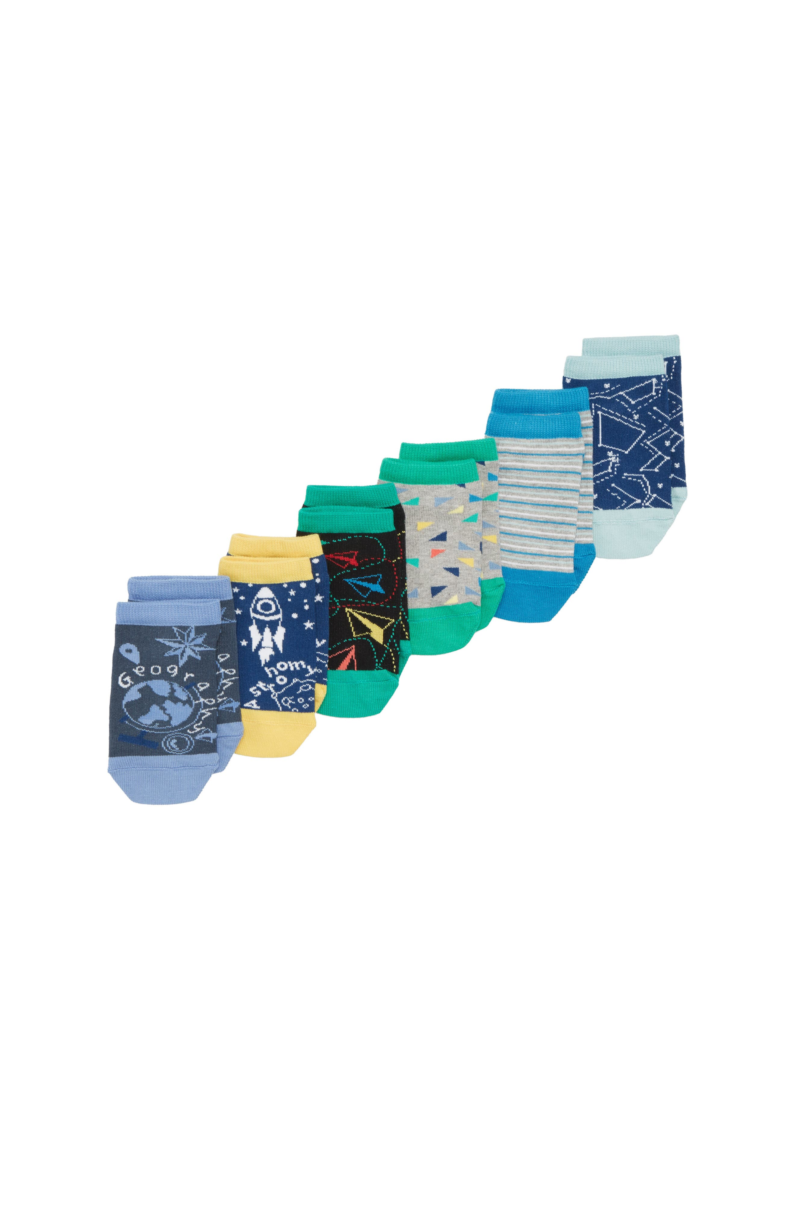 6-Pack Geography Low-Cut Socks,                             Main thumbnail 1, color,                             YELLOW CITRUS/NAVY MULTI