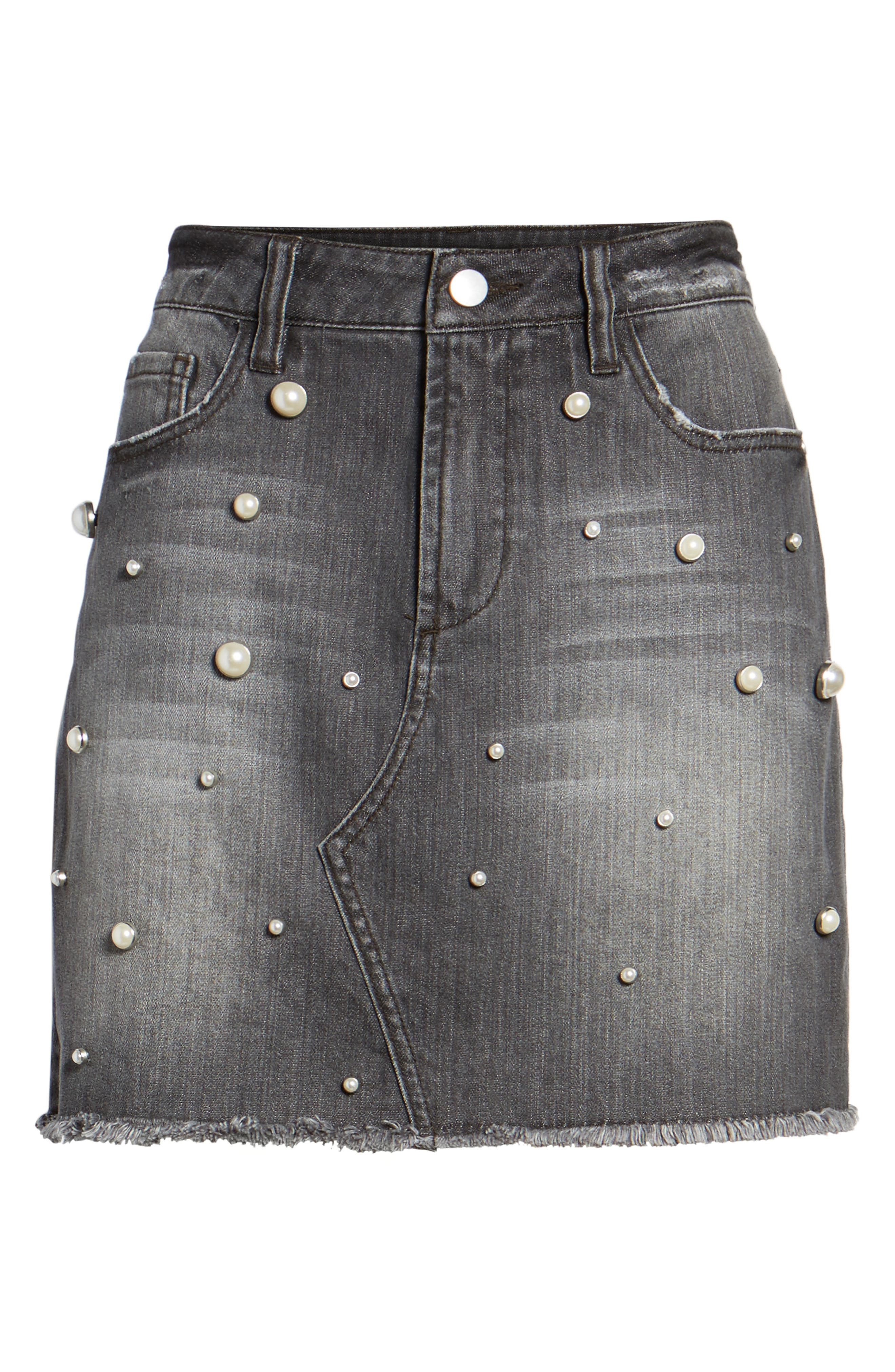 Imitation Pearl Detail Skirt,                             Alternate thumbnail 6, color,                             020