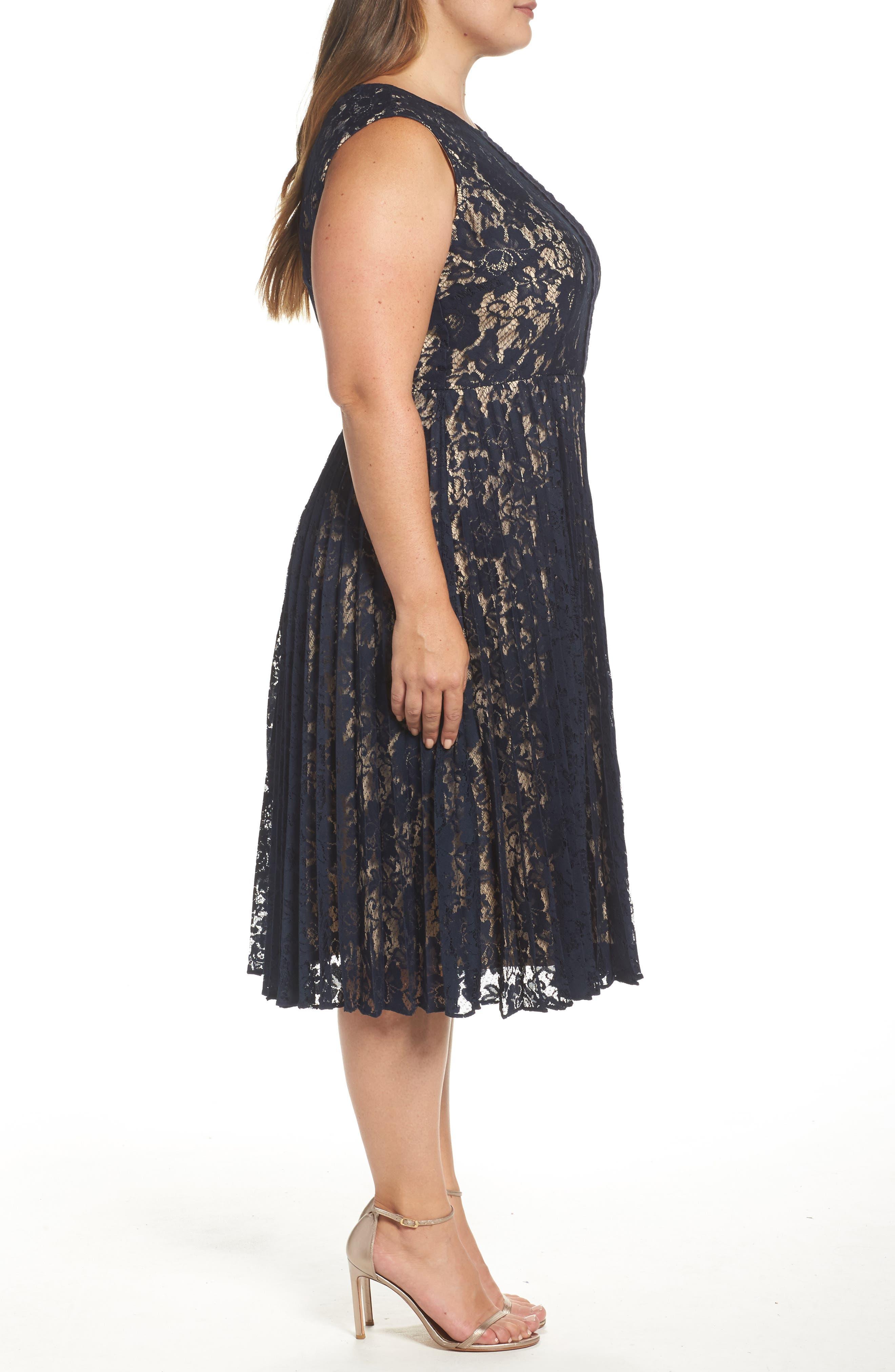 Illusion Lace Pleat Midi Dress,                             Alternate thumbnail 3, color,                             410