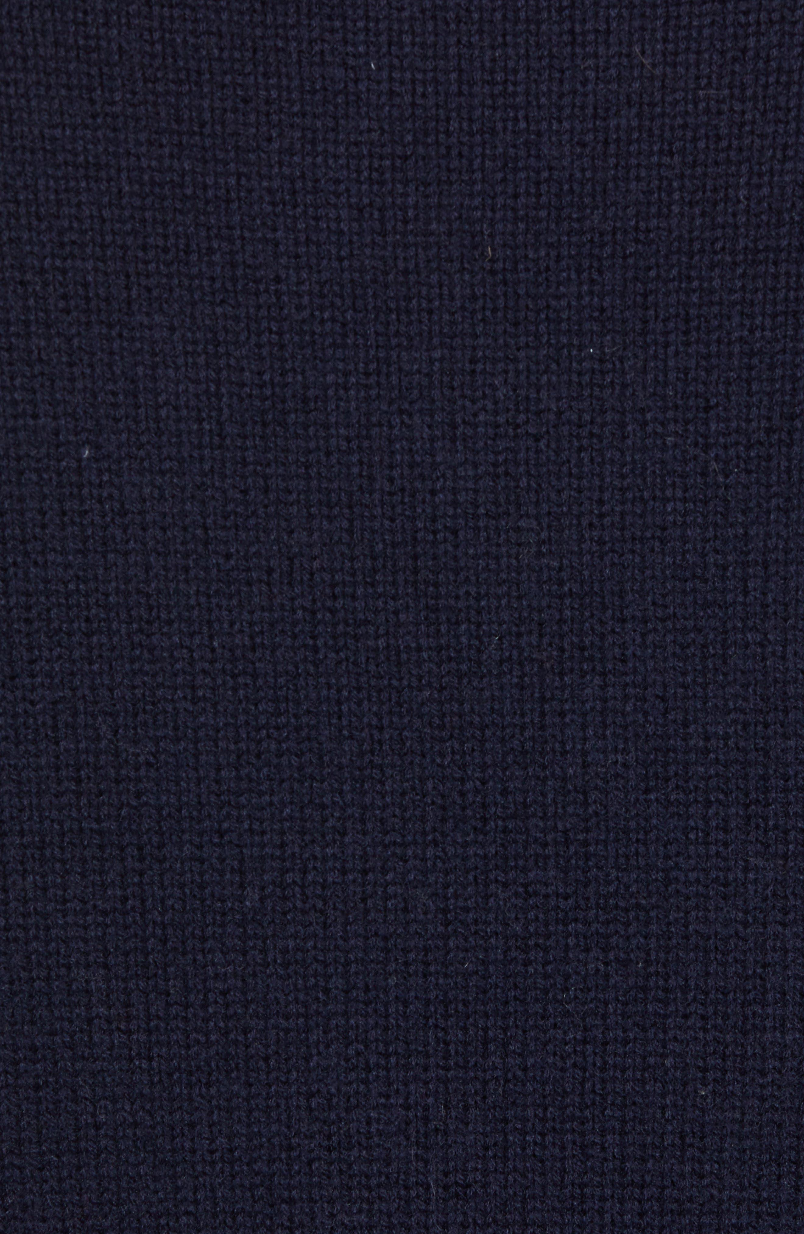 Fisherman Wool Blend Crewneck Sweater,                             Alternate thumbnail 5, color,                             UTILITY BLUE