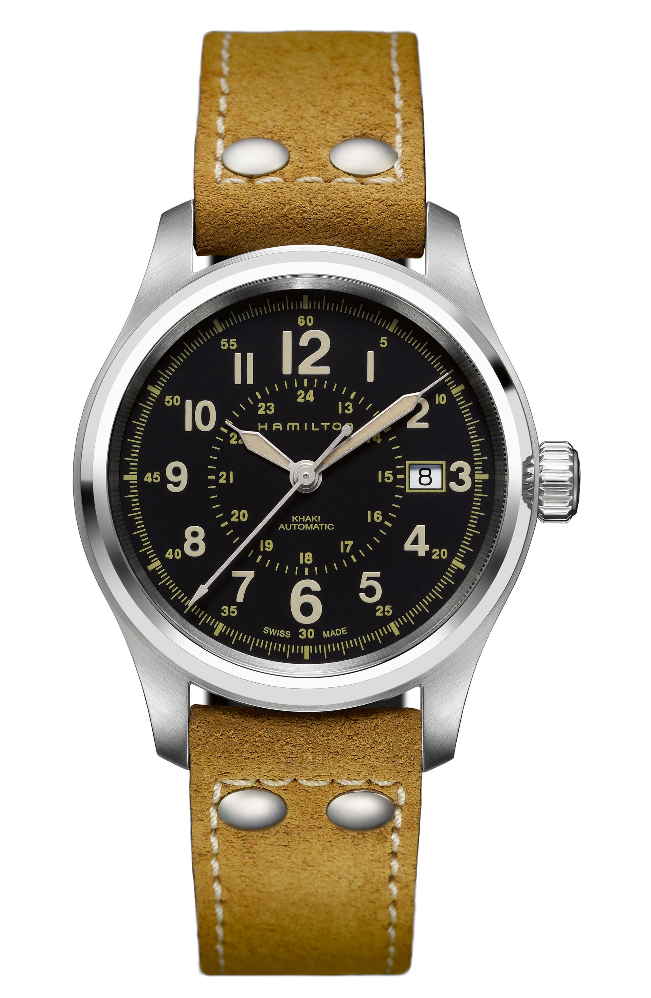 Khaki Field Automatic Leather Strap Watch, 40mm,                         Main,                         color, BEIGE/ BLACK/ SILVER