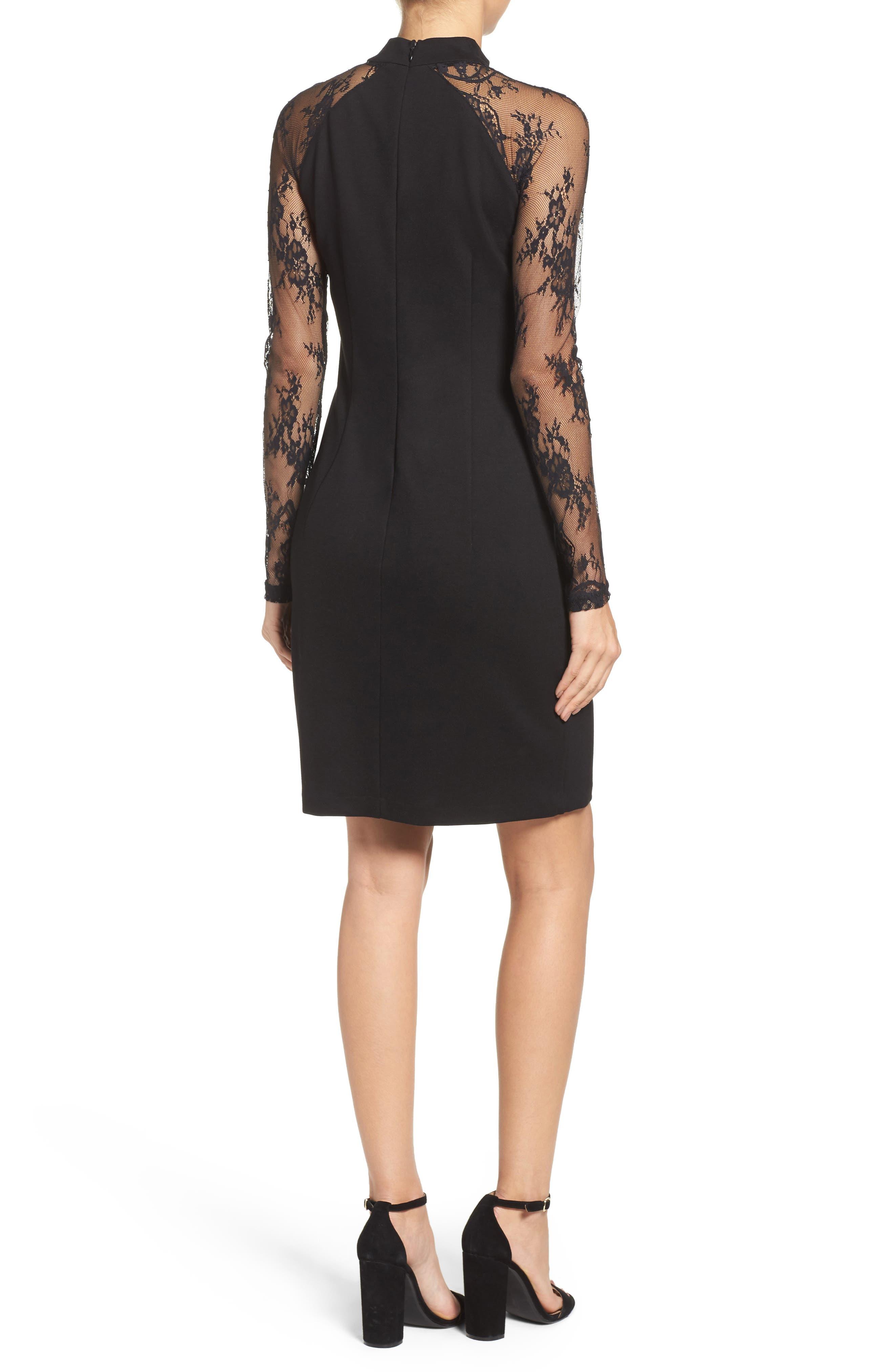 Lace & Ponte Dress,                             Alternate thumbnail 3, color,                             001