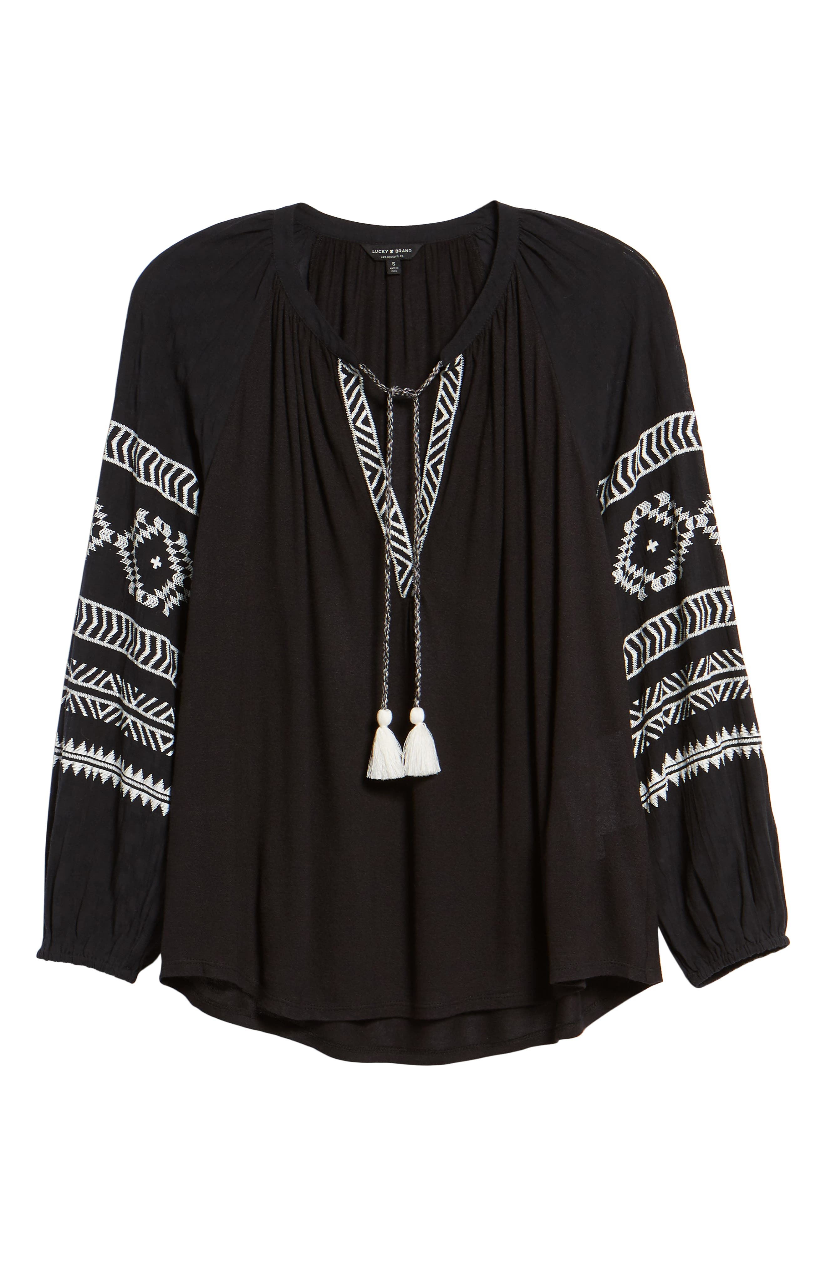 Embroidered Peasant Blouse,                             Alternate thumbnail 6, color,                             BLACK W/ CREAM