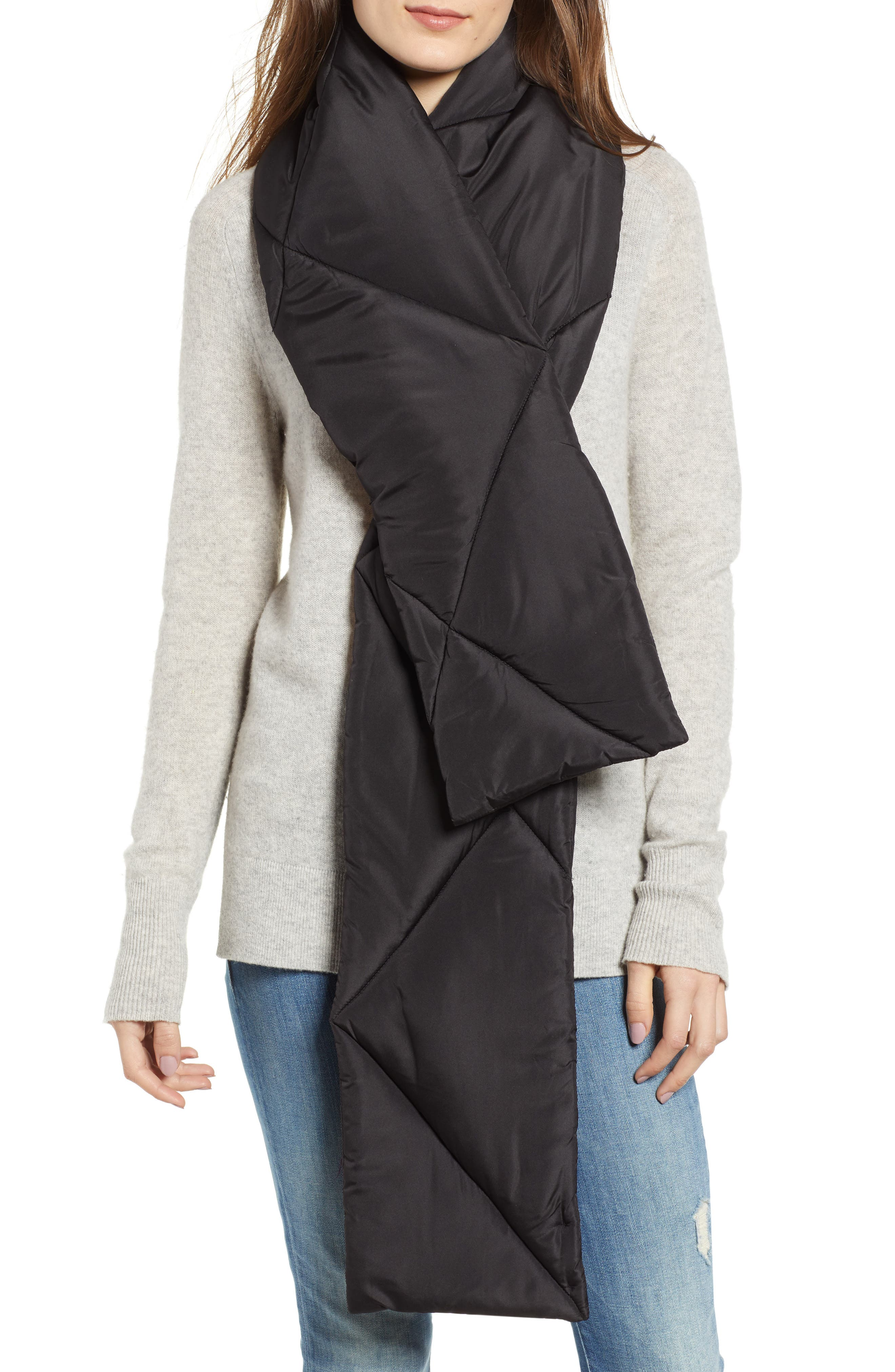 Puffer Scarf,                         Main,                         color, BLACK