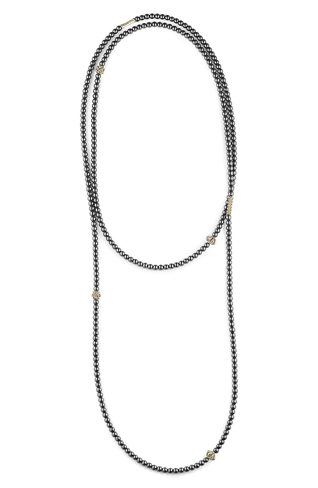 'Caviar Icon' Strand Necklace,                             Main thumbnail 1, color,                             HEMATITE/ GOLD