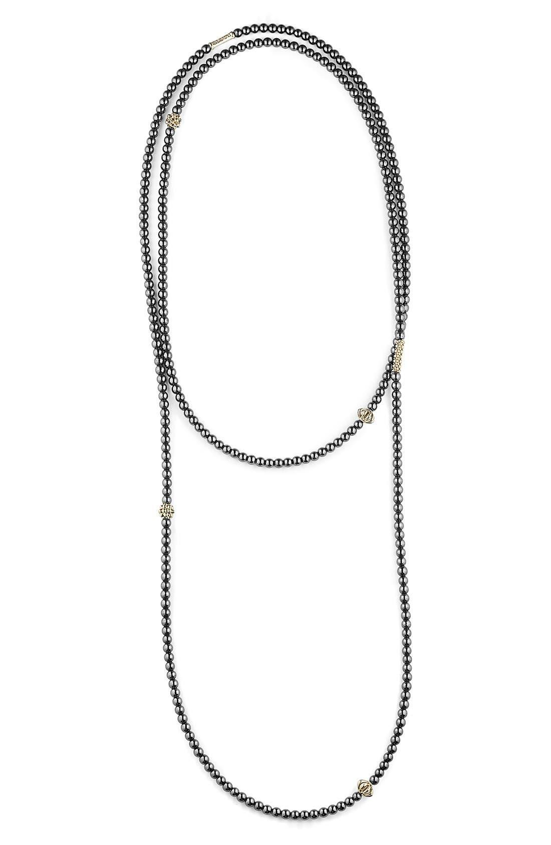 LAGOS,                             'Caviar Icon' Strand Necklace,                             Main thumbnail 1, color,                             HEMATITE/ GOLD