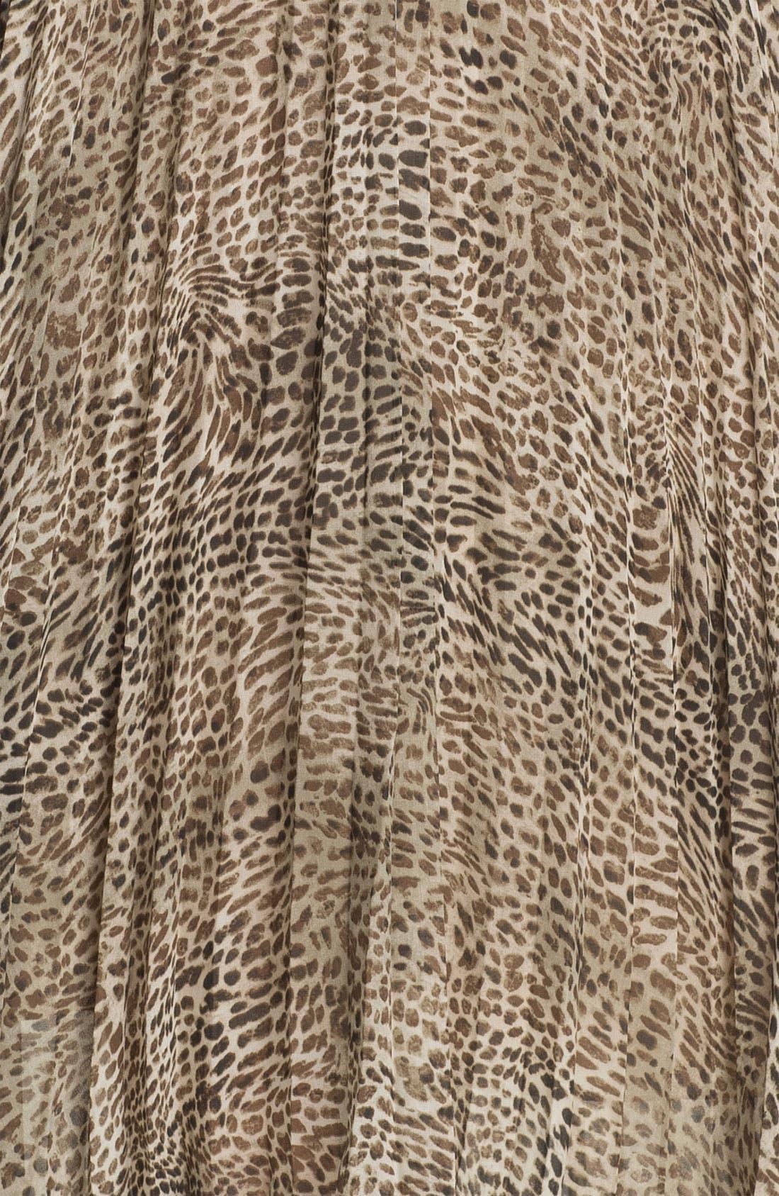 Cheetah Print Crystal Pleat Midi Skirt,                             Alternate thumbnail 2, color,                             271