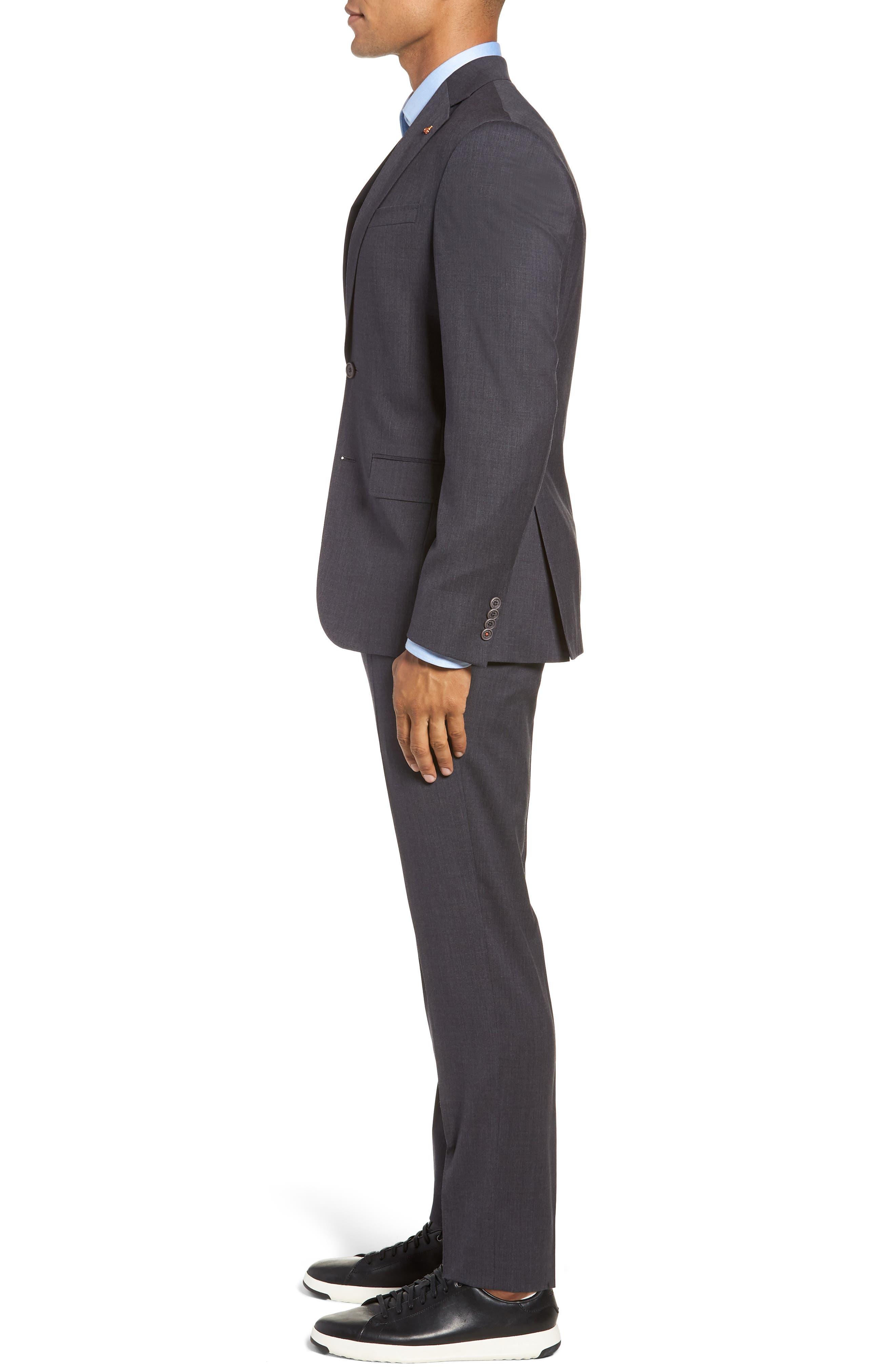 Rove Extra Slim Fit Solid Wool Suit,                             Alternate thumbnail 3, color,                             GREY