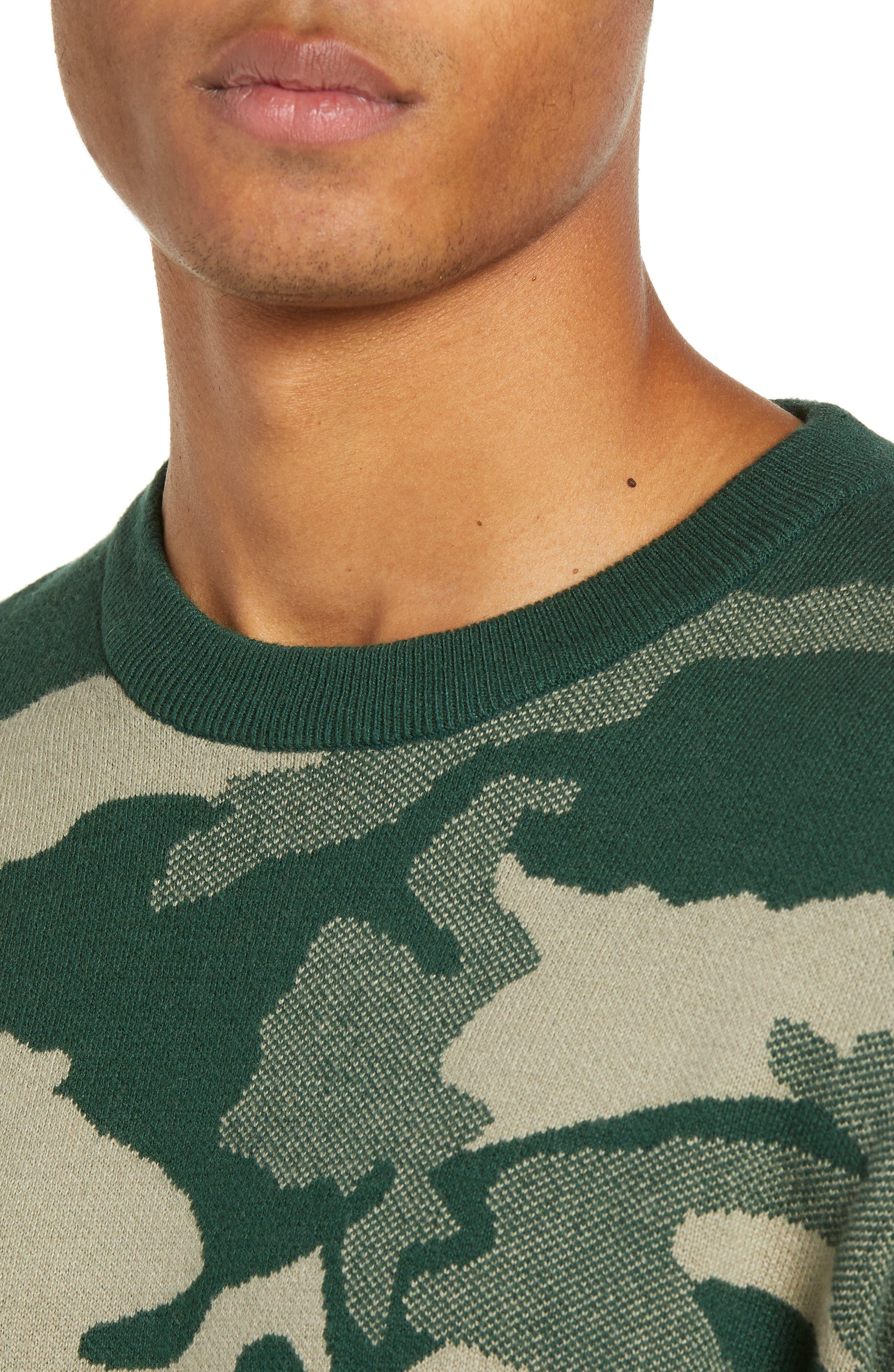 Anwar Camo Crewneck Sweater,                             Alternate thumbnail 4, color,                             PEAKS WOODLAND