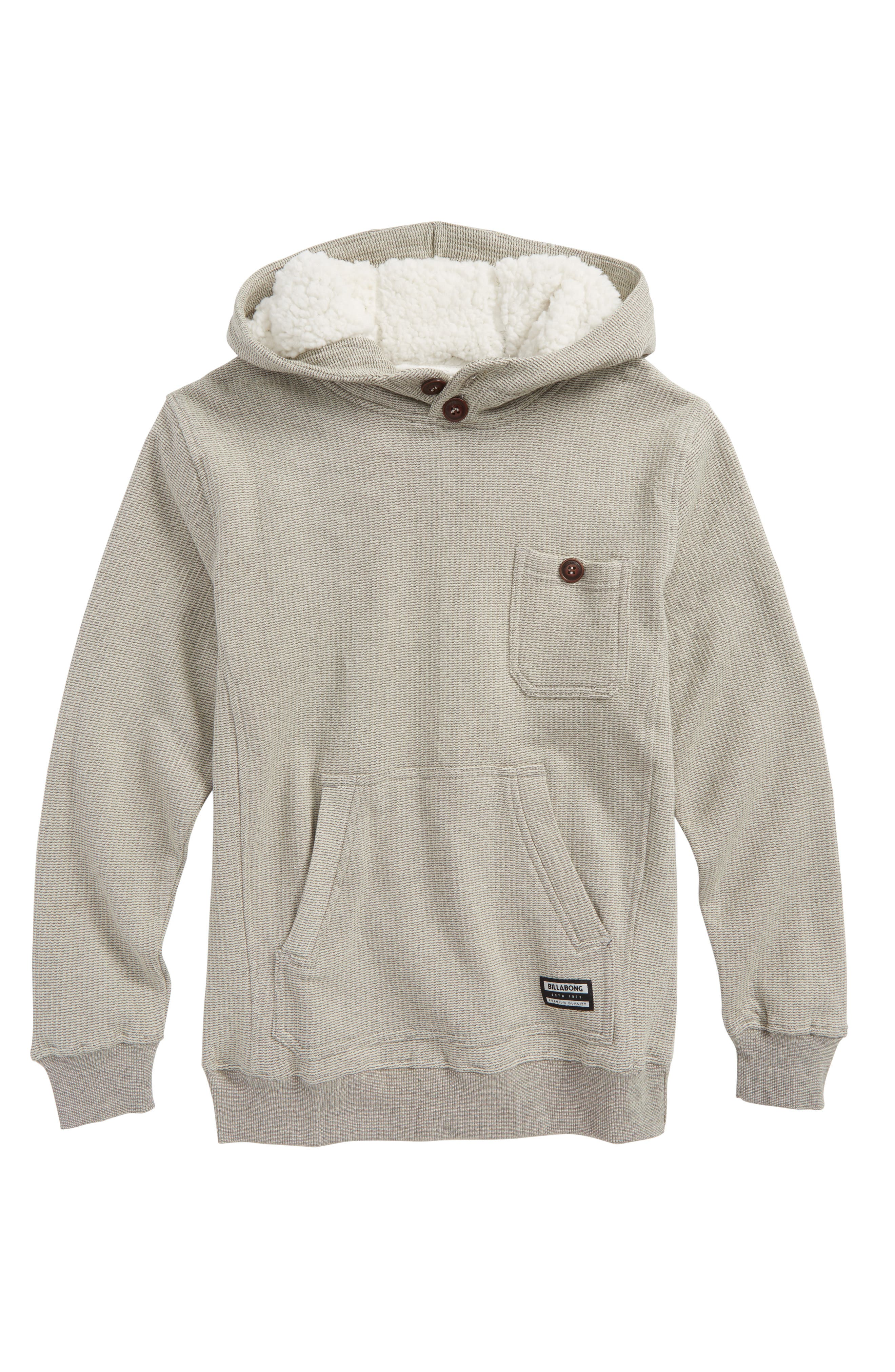 Hudson Woven Button Pullover Hoodie,                             Main thumbnail 2, color,