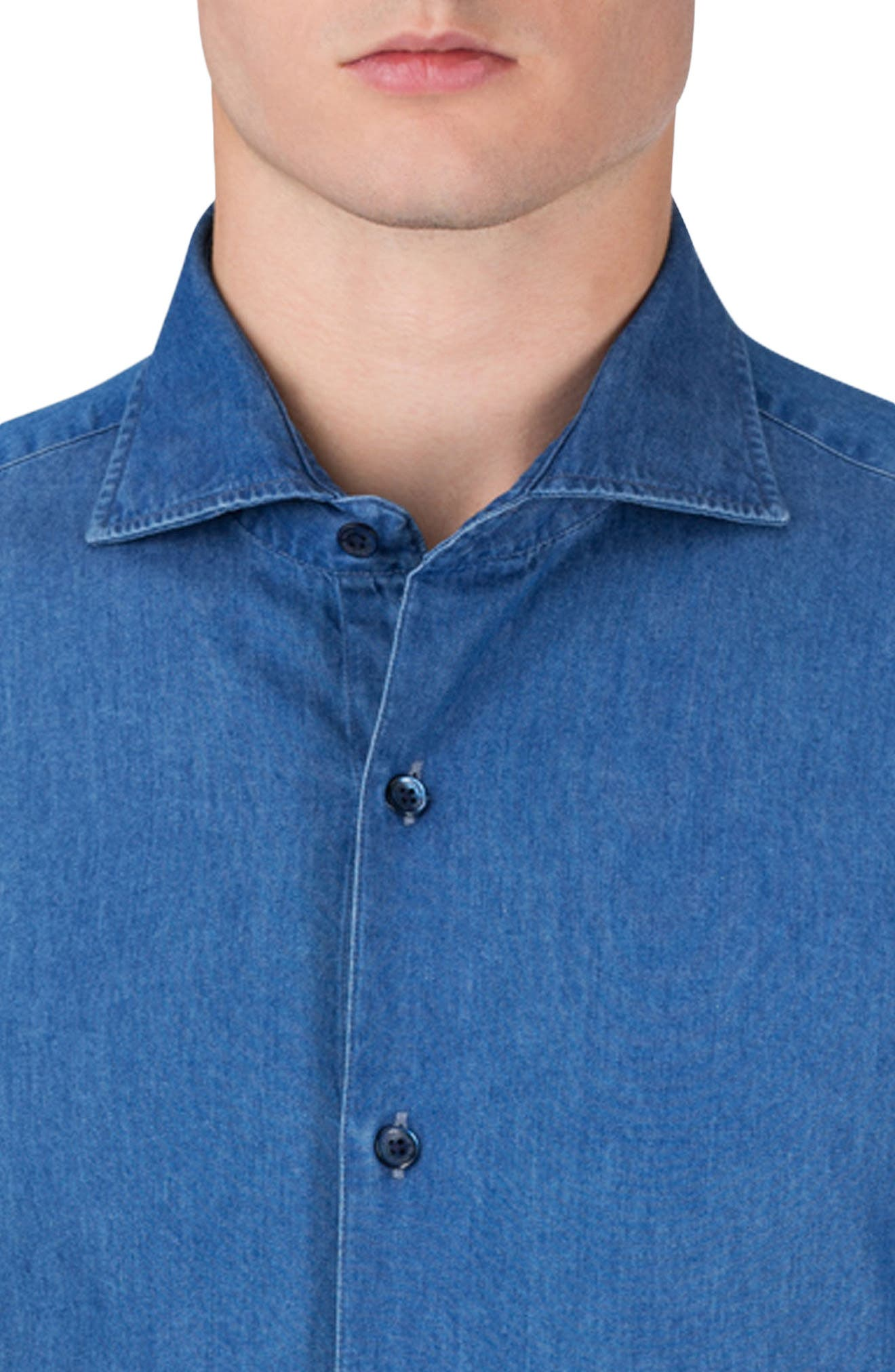 Classic Fit Chambray Sport Shirt,                             Alternate thumbnail 3, color,                             427