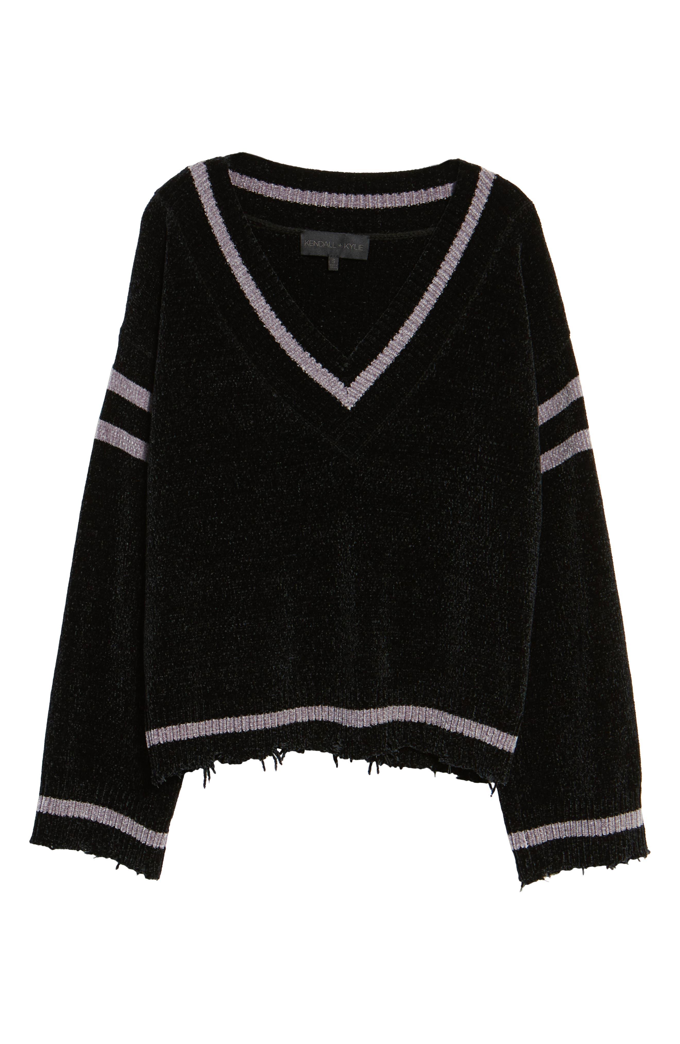 Oversize V-Neck Sweater,                             Alternate thumbnail 6, color,                             BLACK/ MED. HEATHER GREY