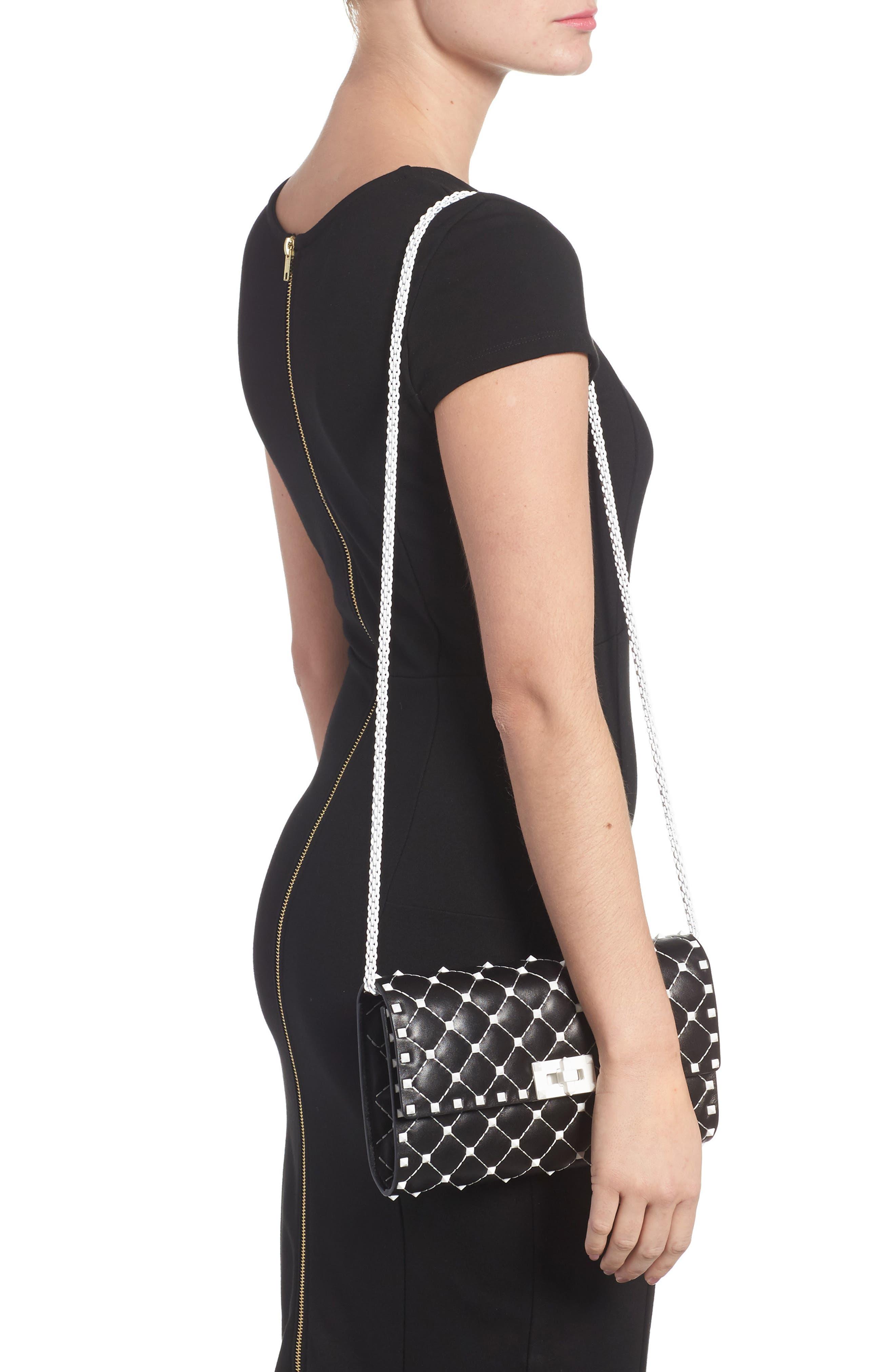 Rockstud Matelassé Leather Shoulder Bag,                             Alternate thumbnail 2, color,                             001