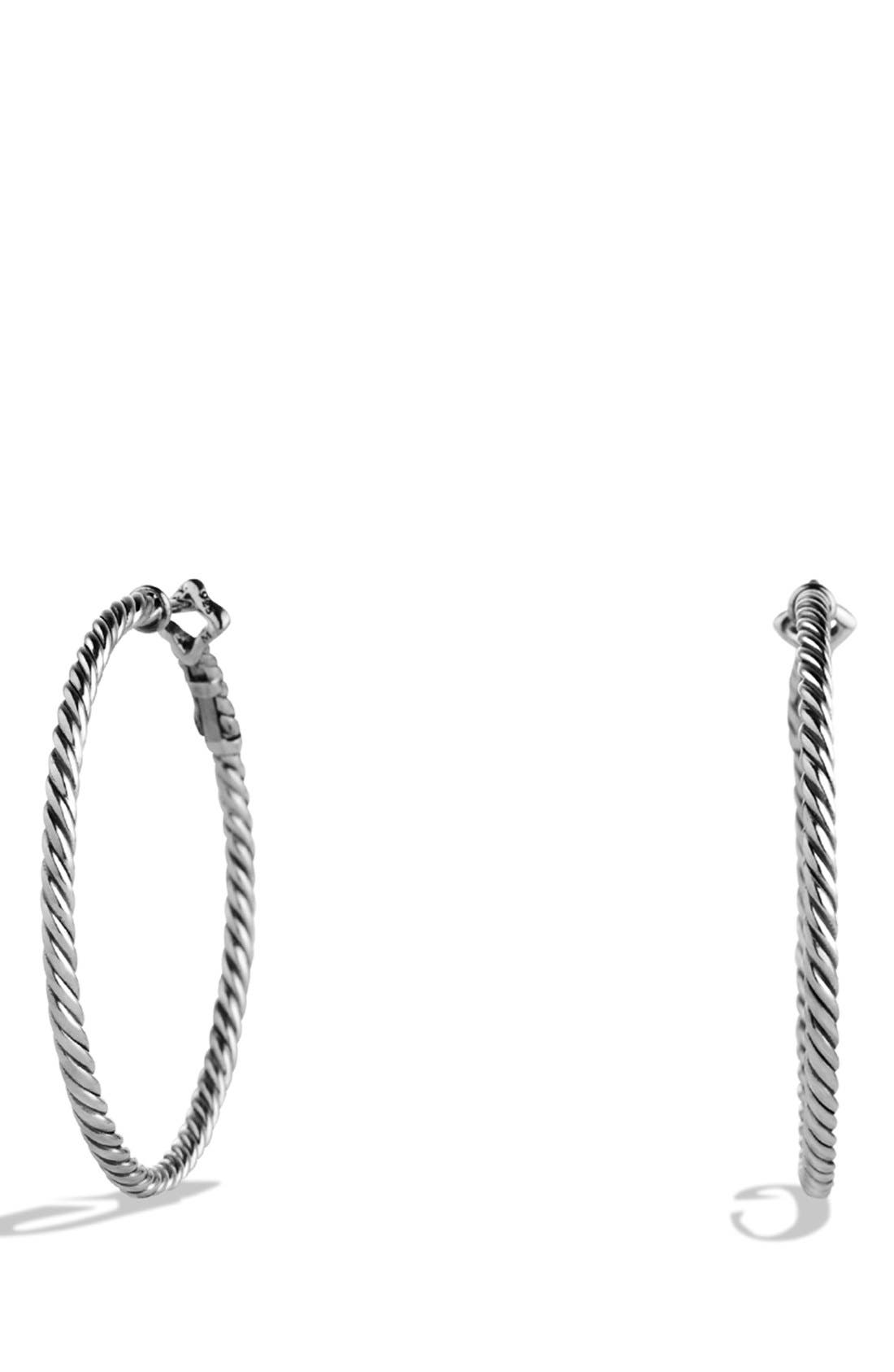 Cable Classics Hoop Earrings,                             Main thumbnail 1, color,                             SILVER
