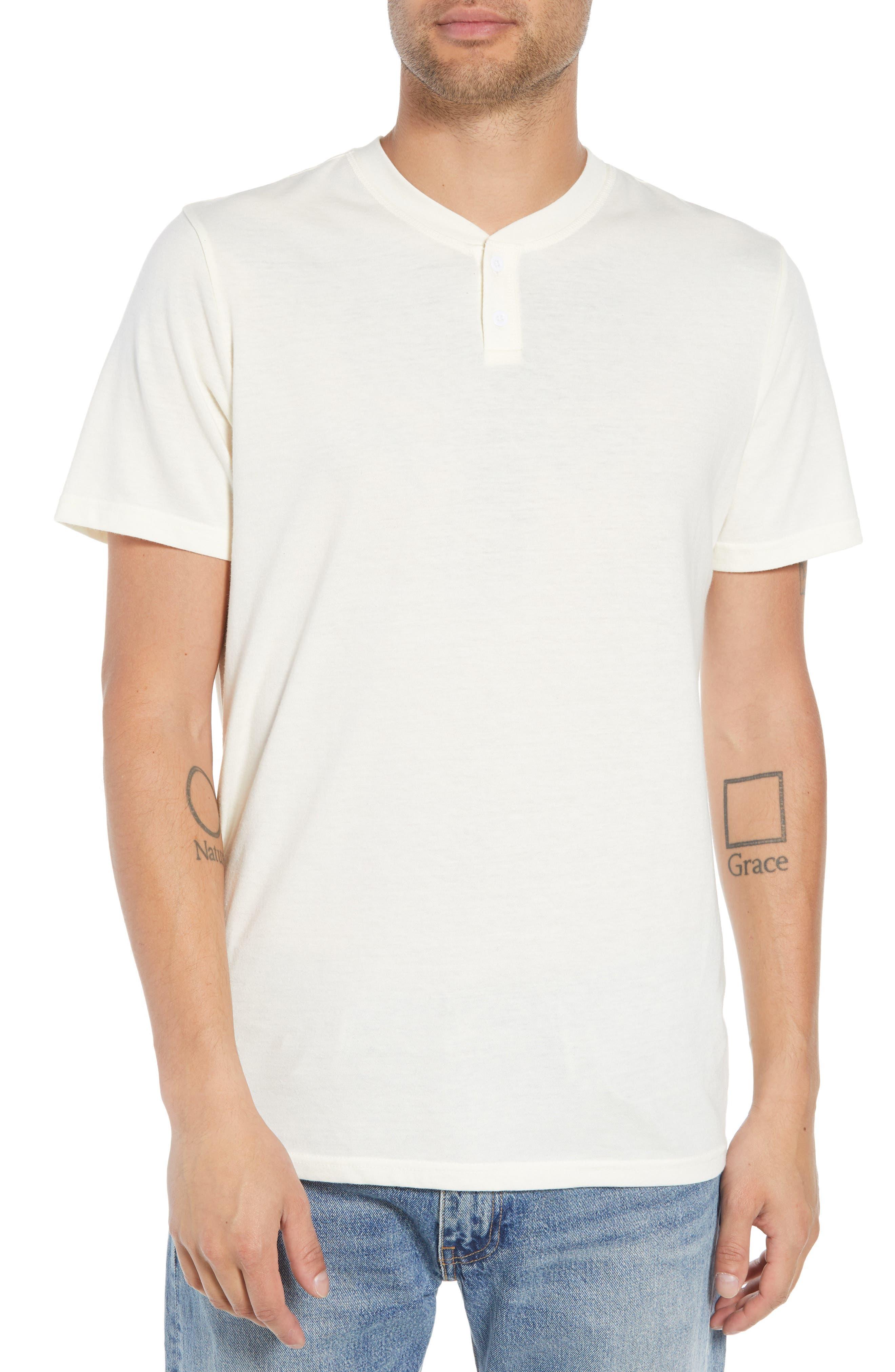 Solid Henley T-Shirt,                         Main,                         color, IVORY EGRET