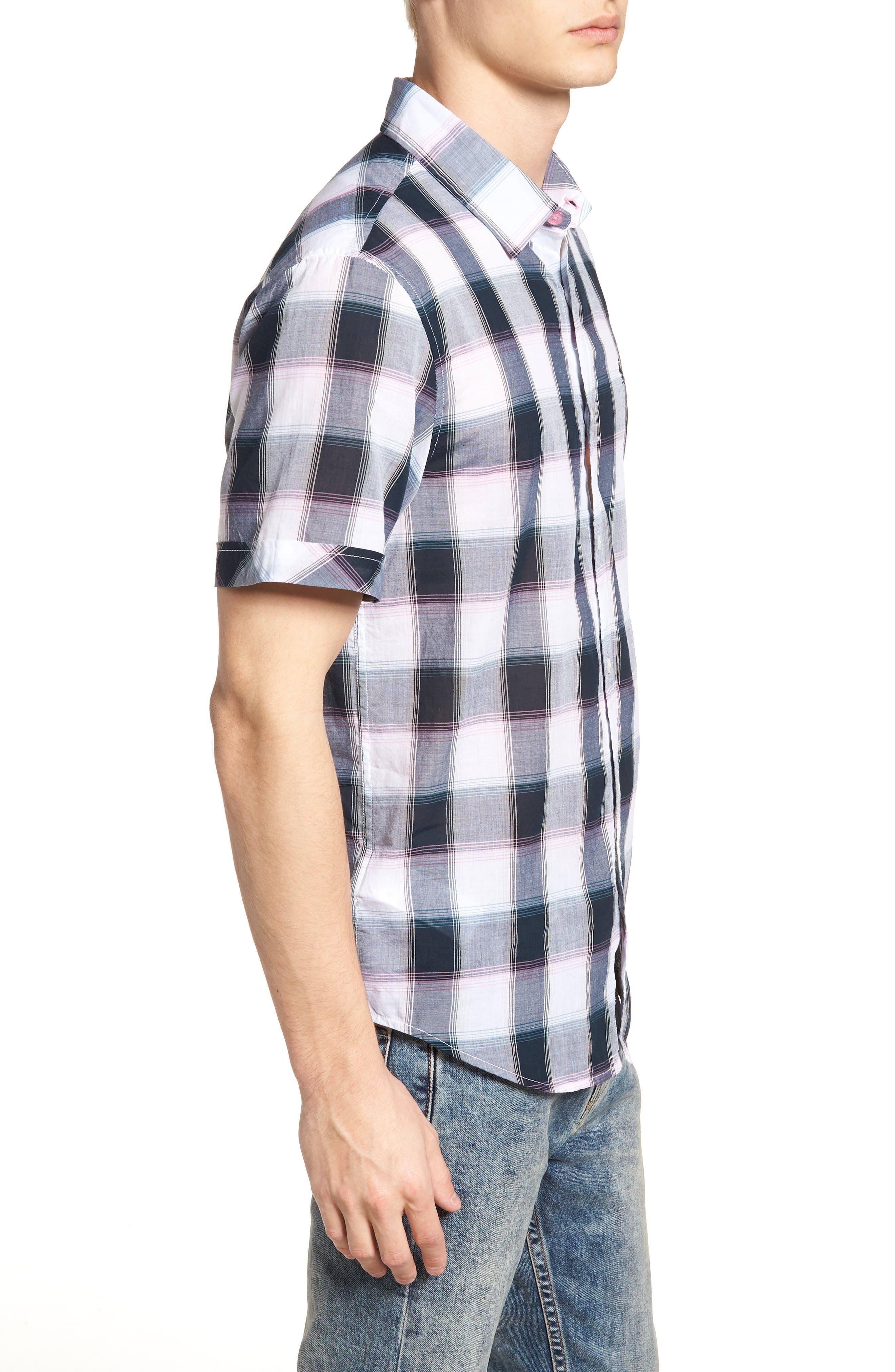 Plaid Cotton Lawn Shirt,                             Alternate thumbnail 3, color,                             023