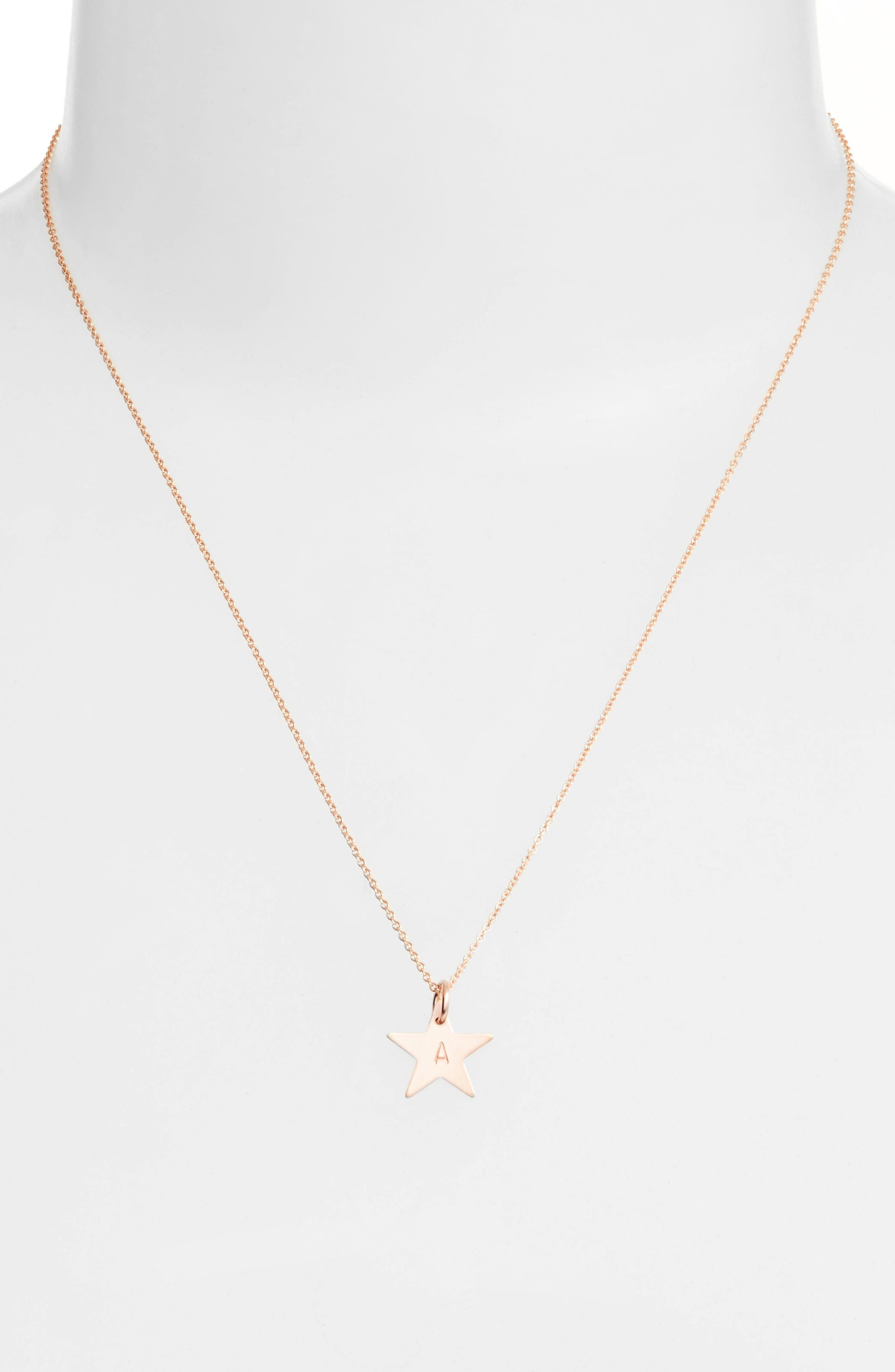 14k-Rose Gold Fill Initial Mini Star Pendant Necklace,                             Alternate thumbnail 2, color,                             710